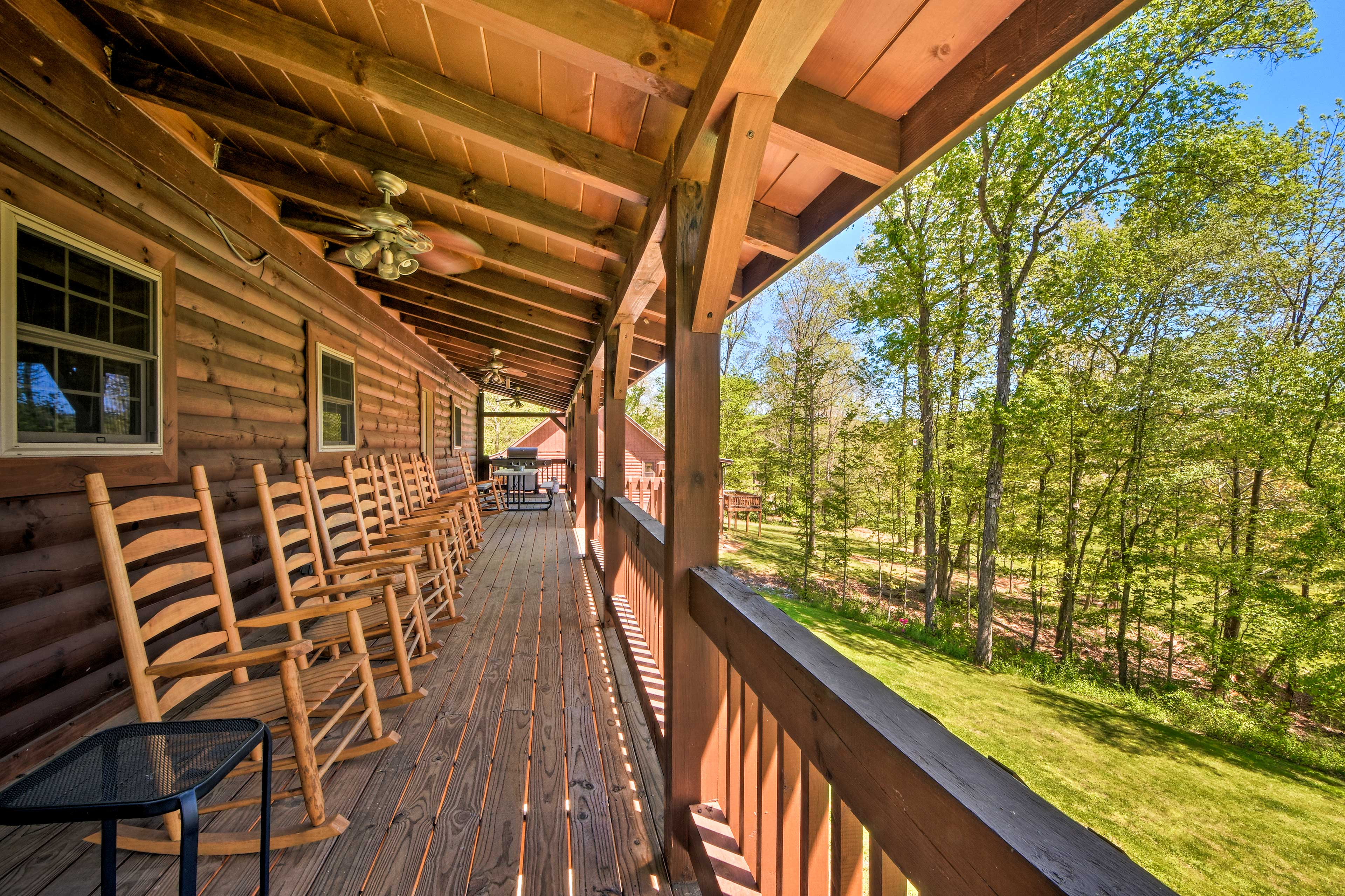 Private Back Deck   Rocking Chairs   Ceiling Fans   Gas Grill