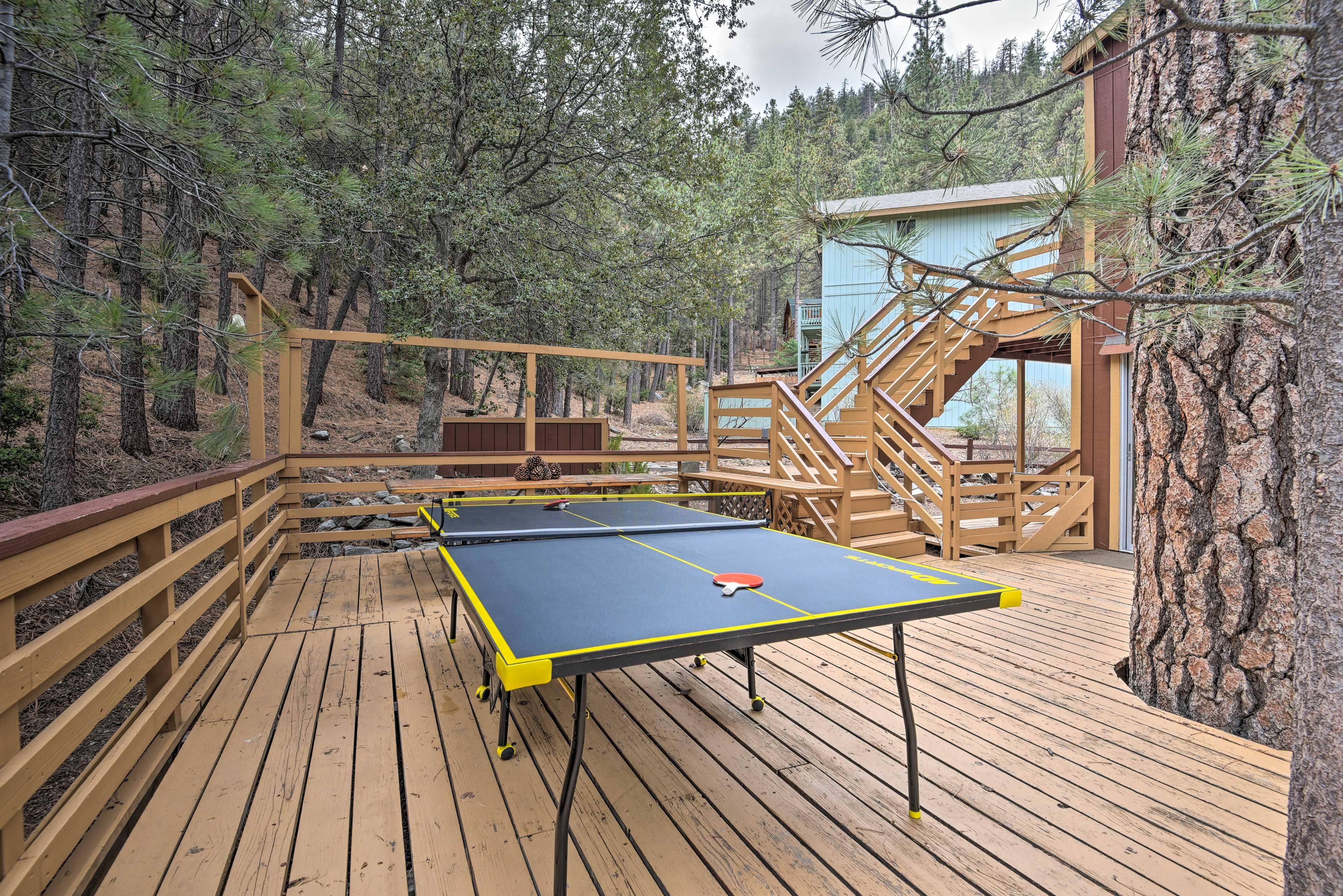Play ping pong surrounded by towering trees.
