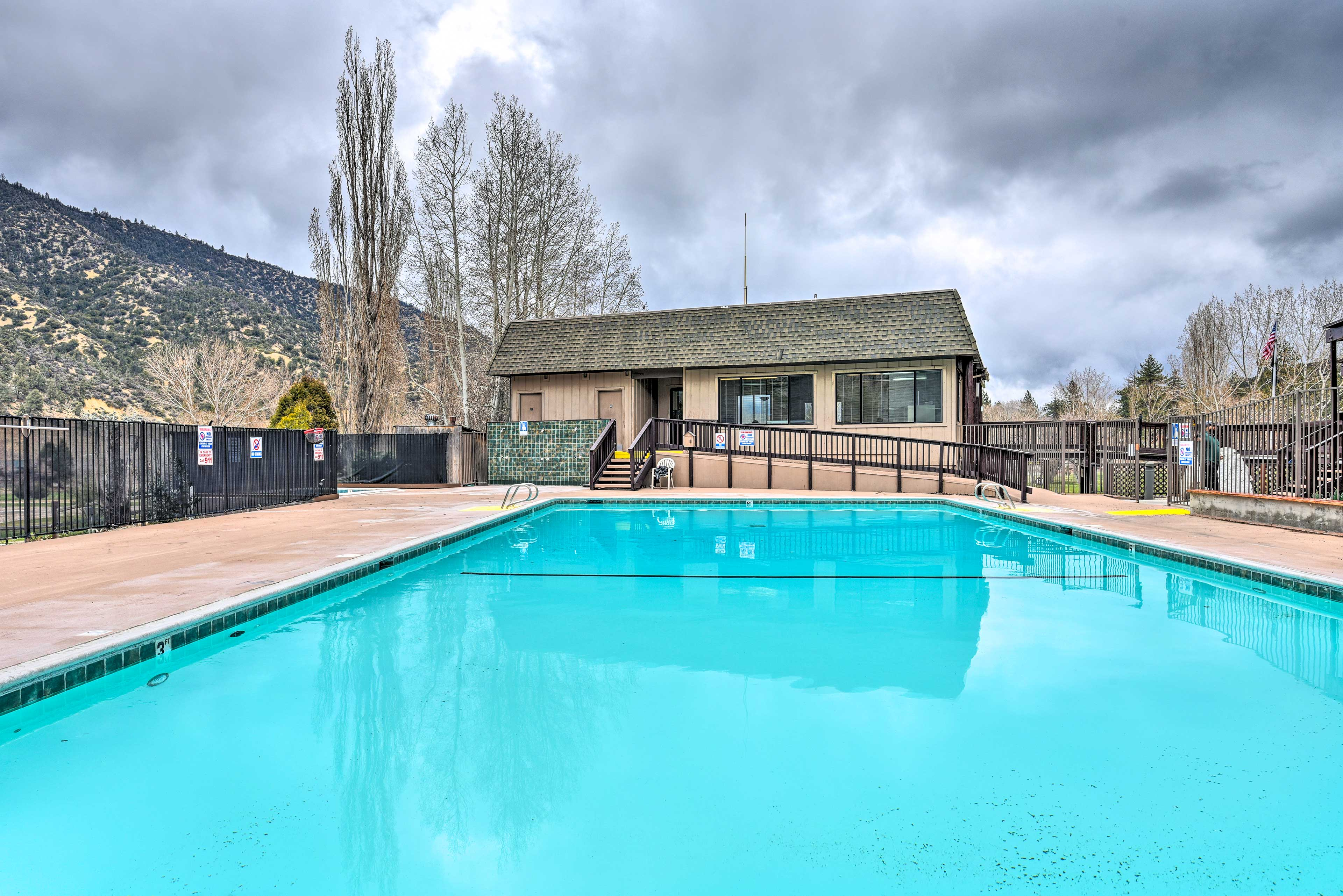 This pool is a short walk from the home.