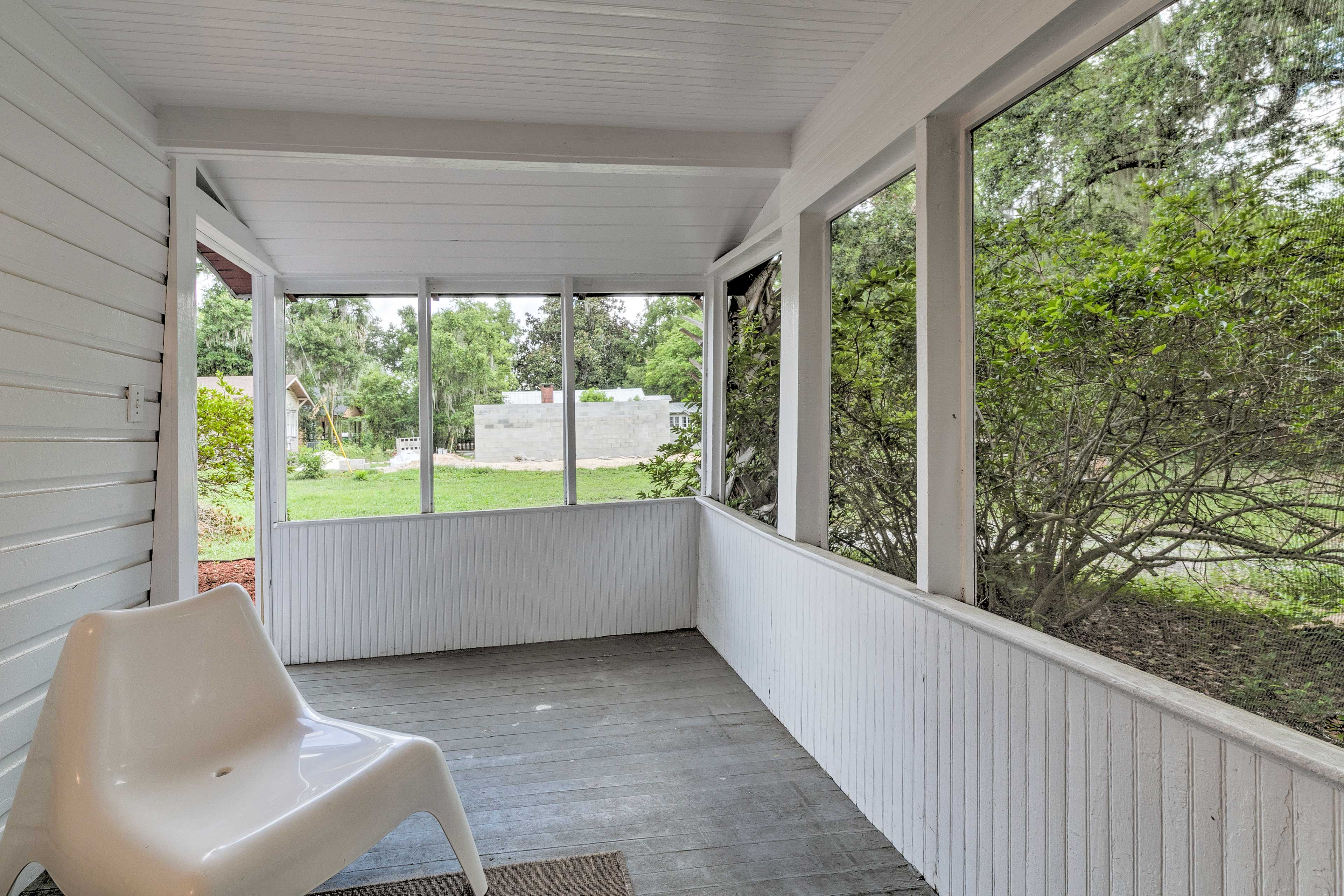 Take in the scenery from the covered porch.