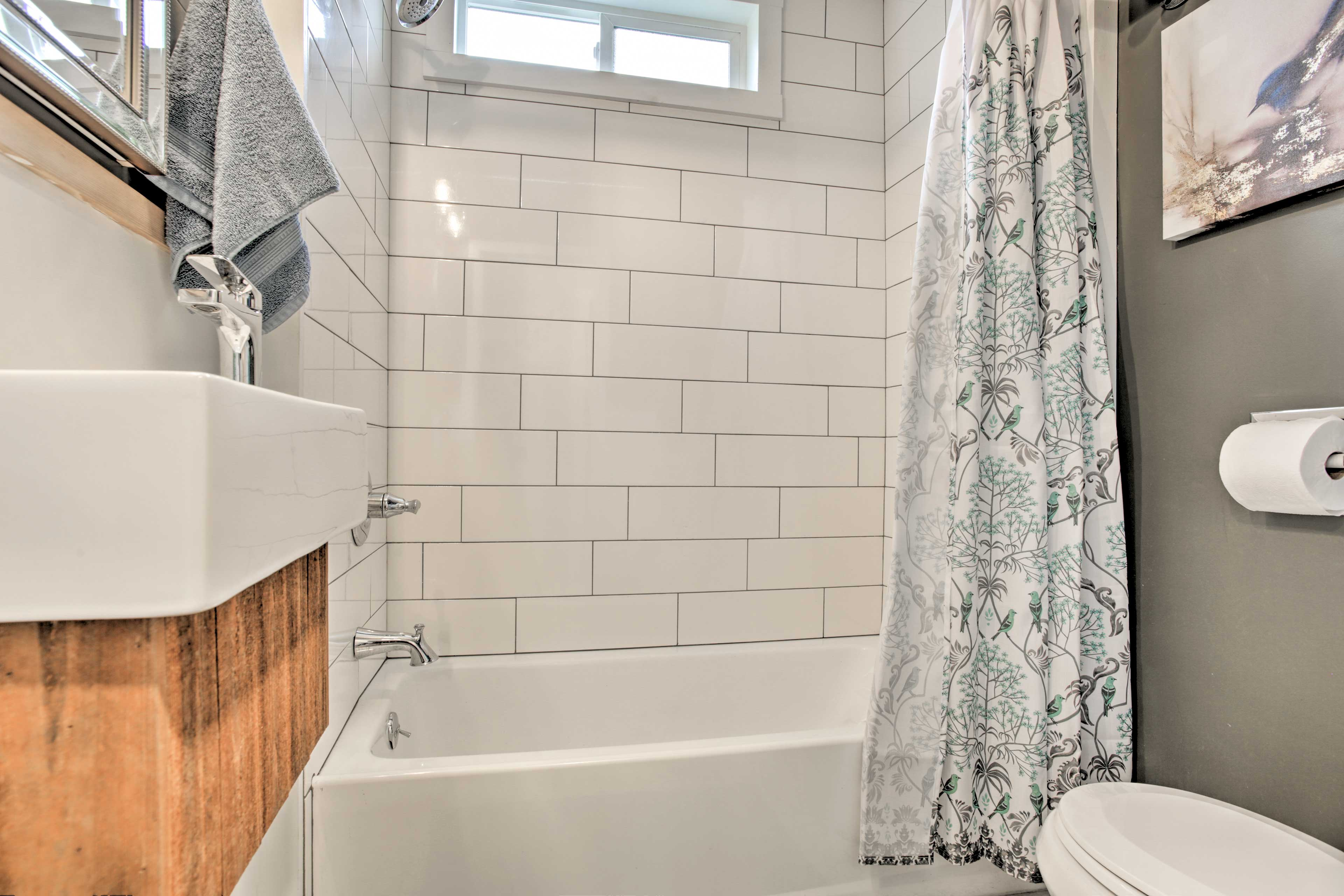 The second full bathroom boasts a shower/tub combo!