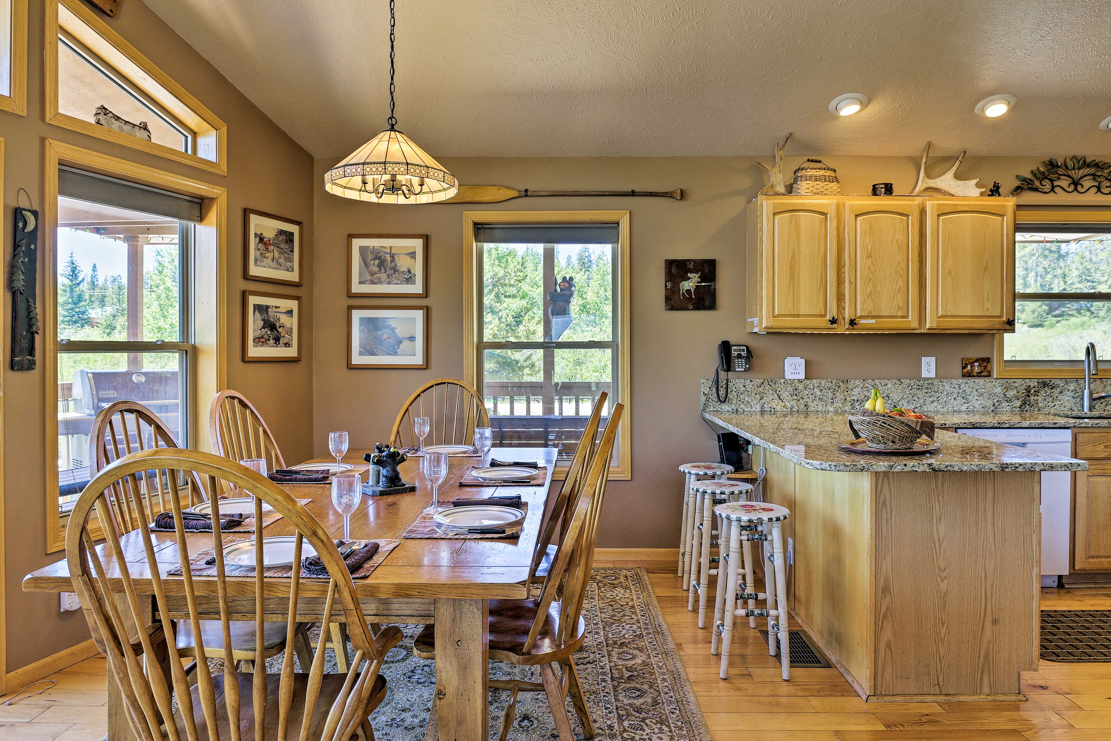 Set the table for a home-cooked meal prepared in the kitchen by the master chef.