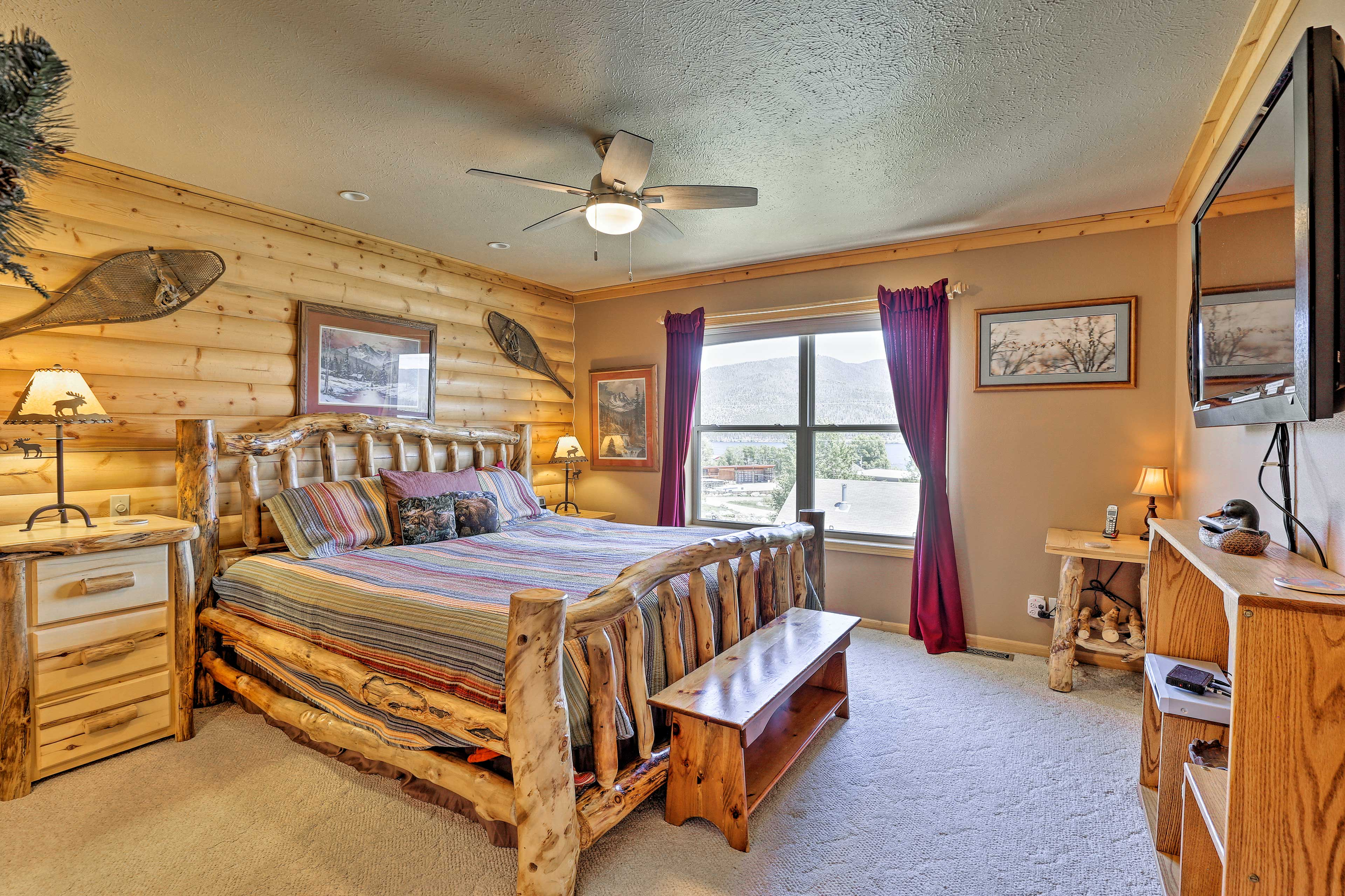 Make yourself comfortable in the master bedroom.