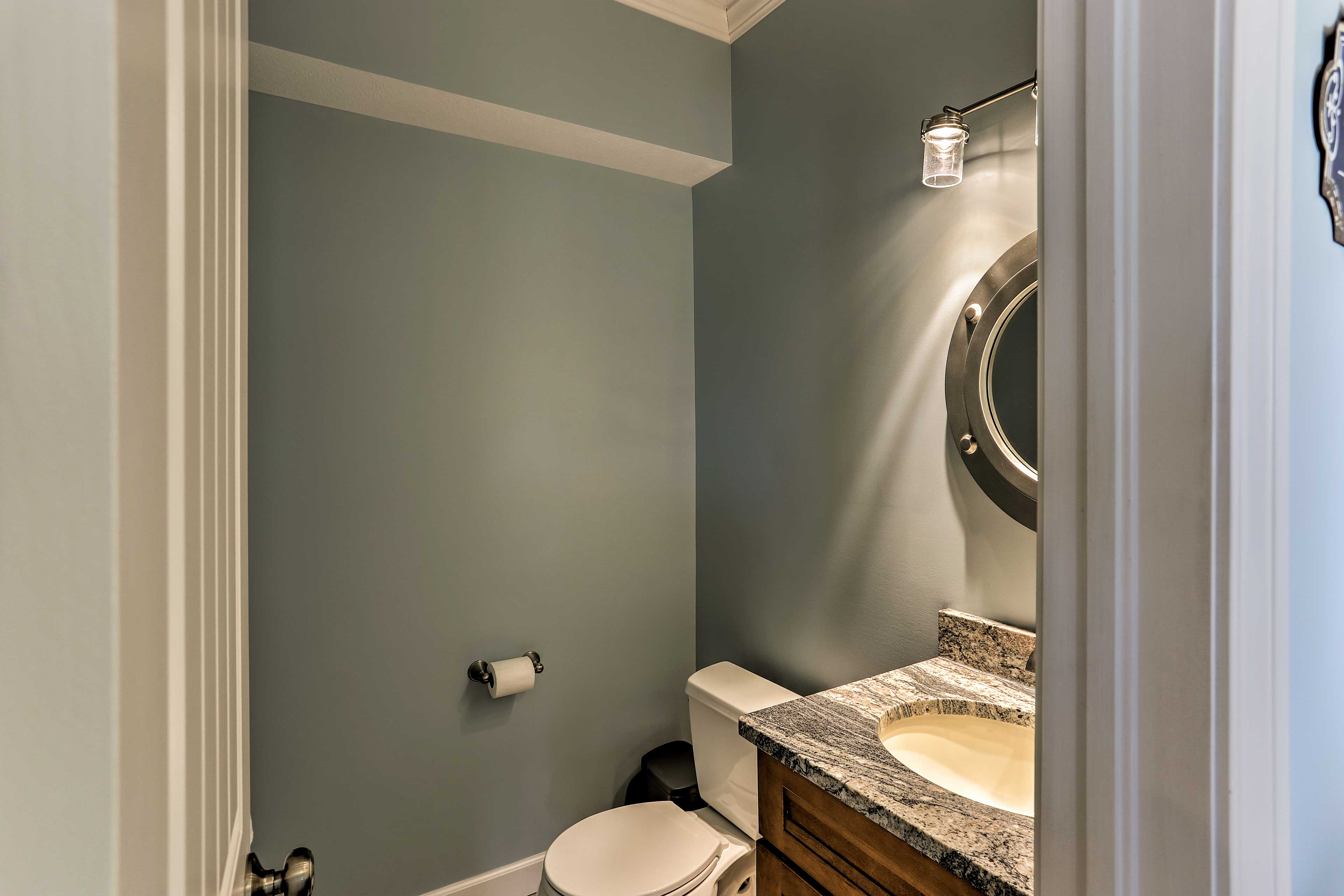 The home offers 2.5 bathrooms for guests to use.