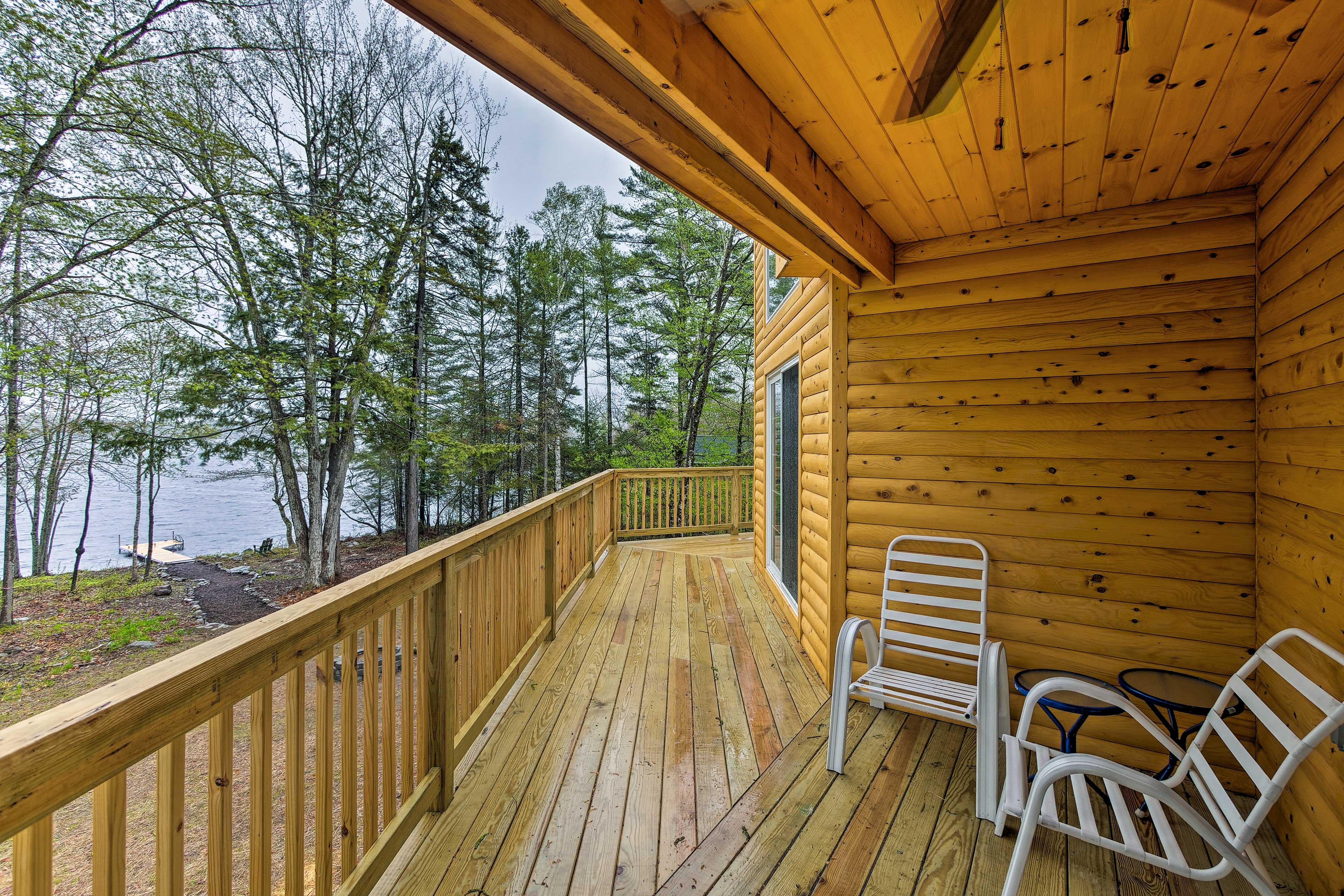 Don't delay in getting to your spot on the deck with views of Davis Pond.