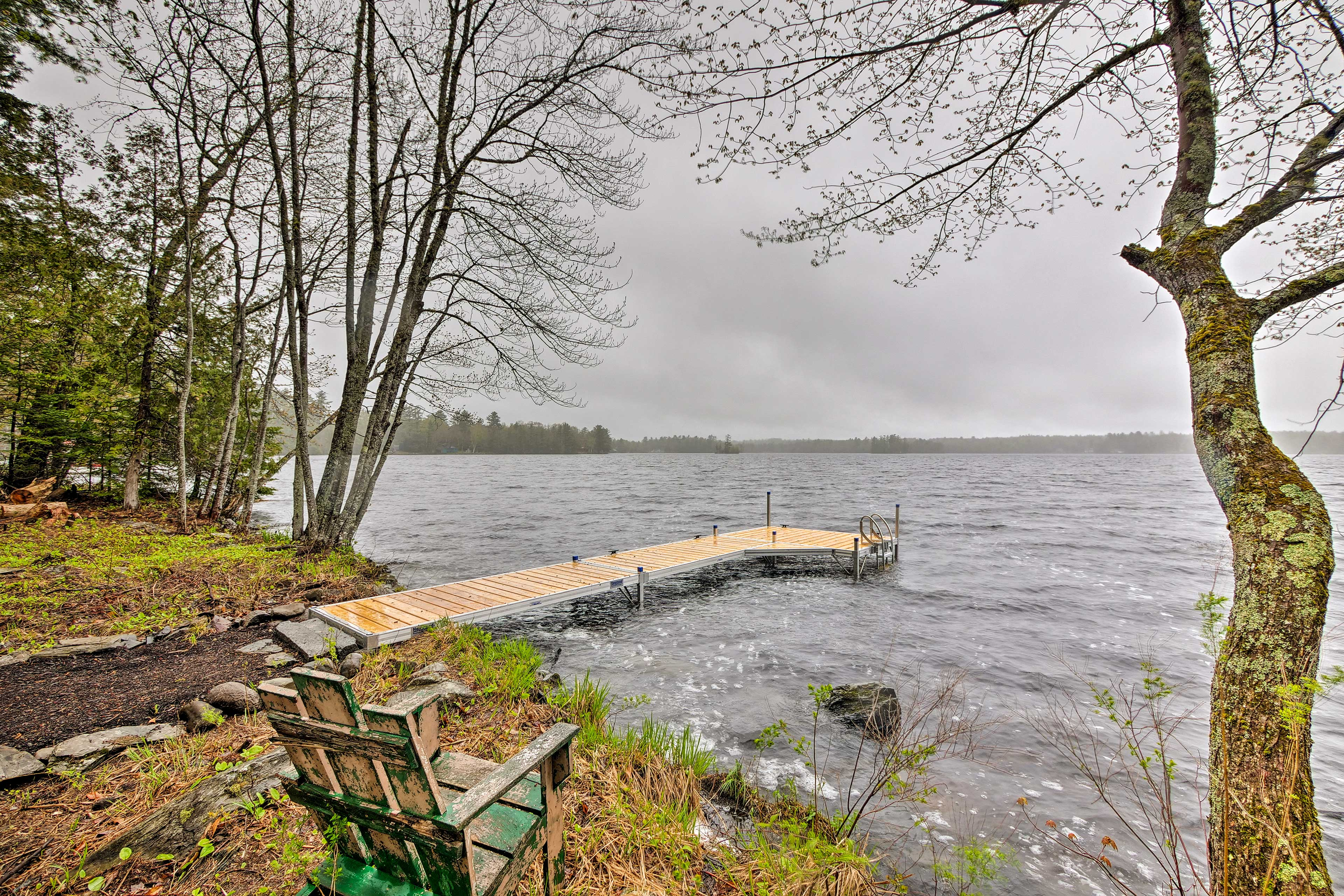 The new dock is the perfect place to cast a line or go swimming!