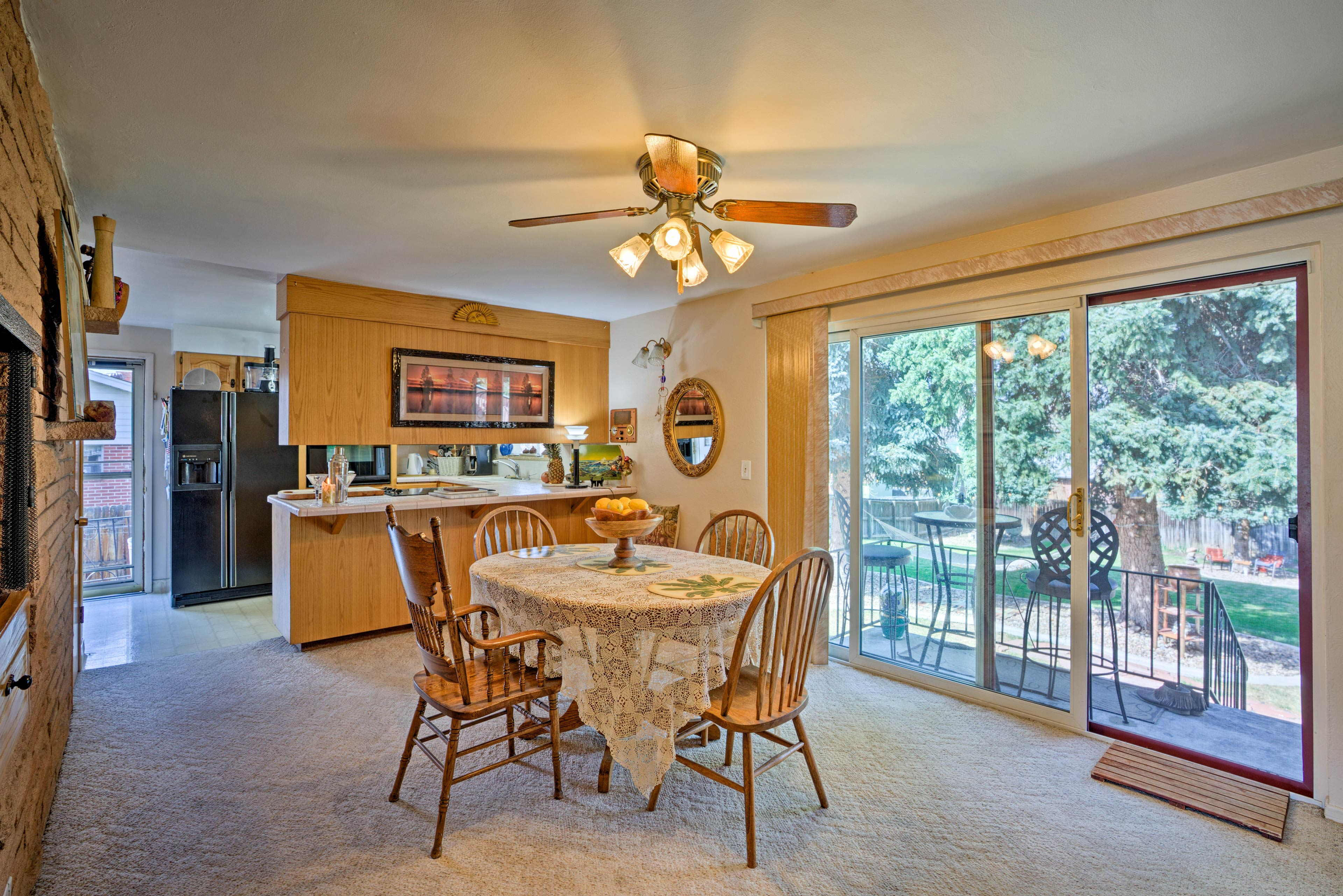 Enjoy a home-cooked meal on this dining space.