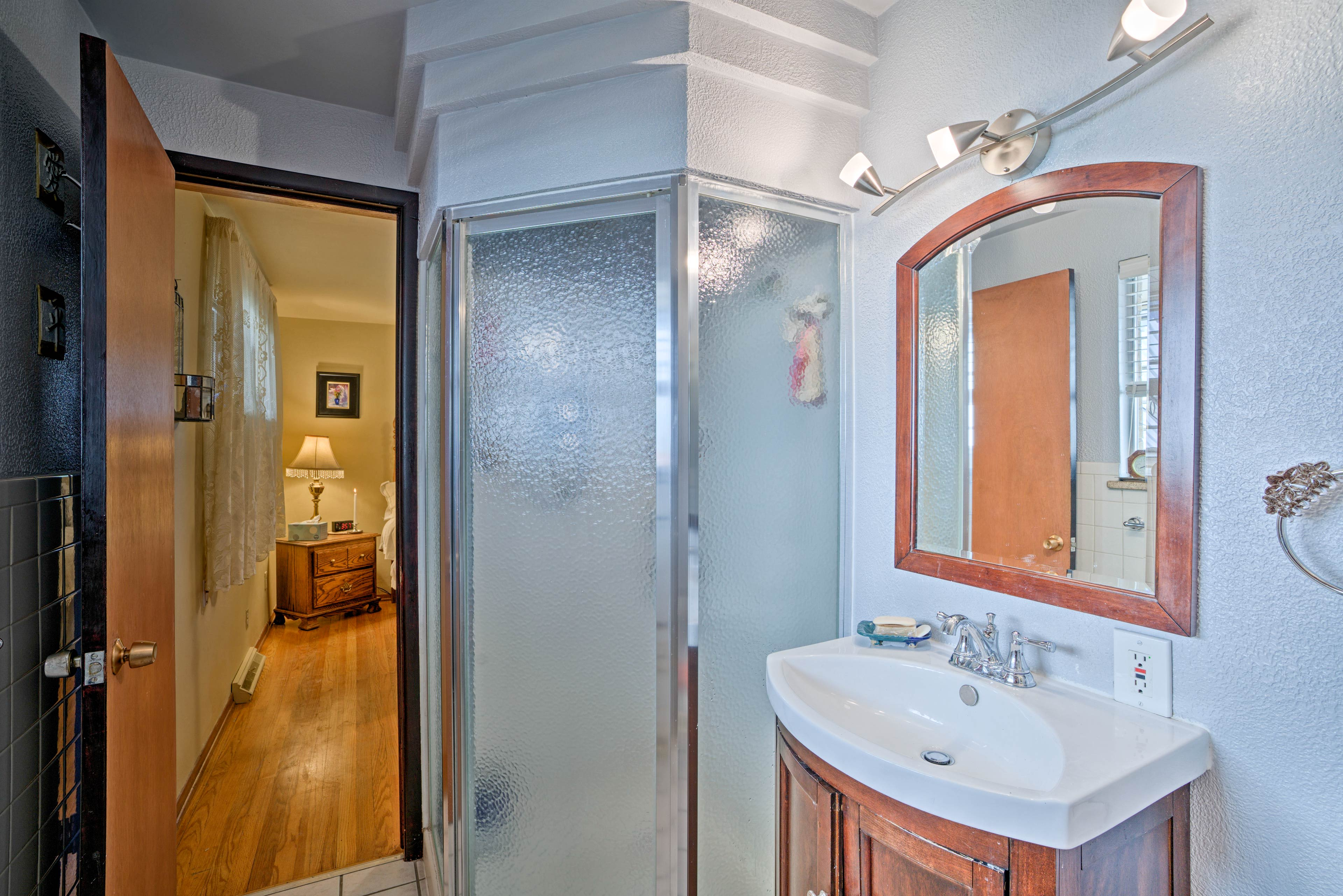 A walk-in shower highlights this bathroom.
