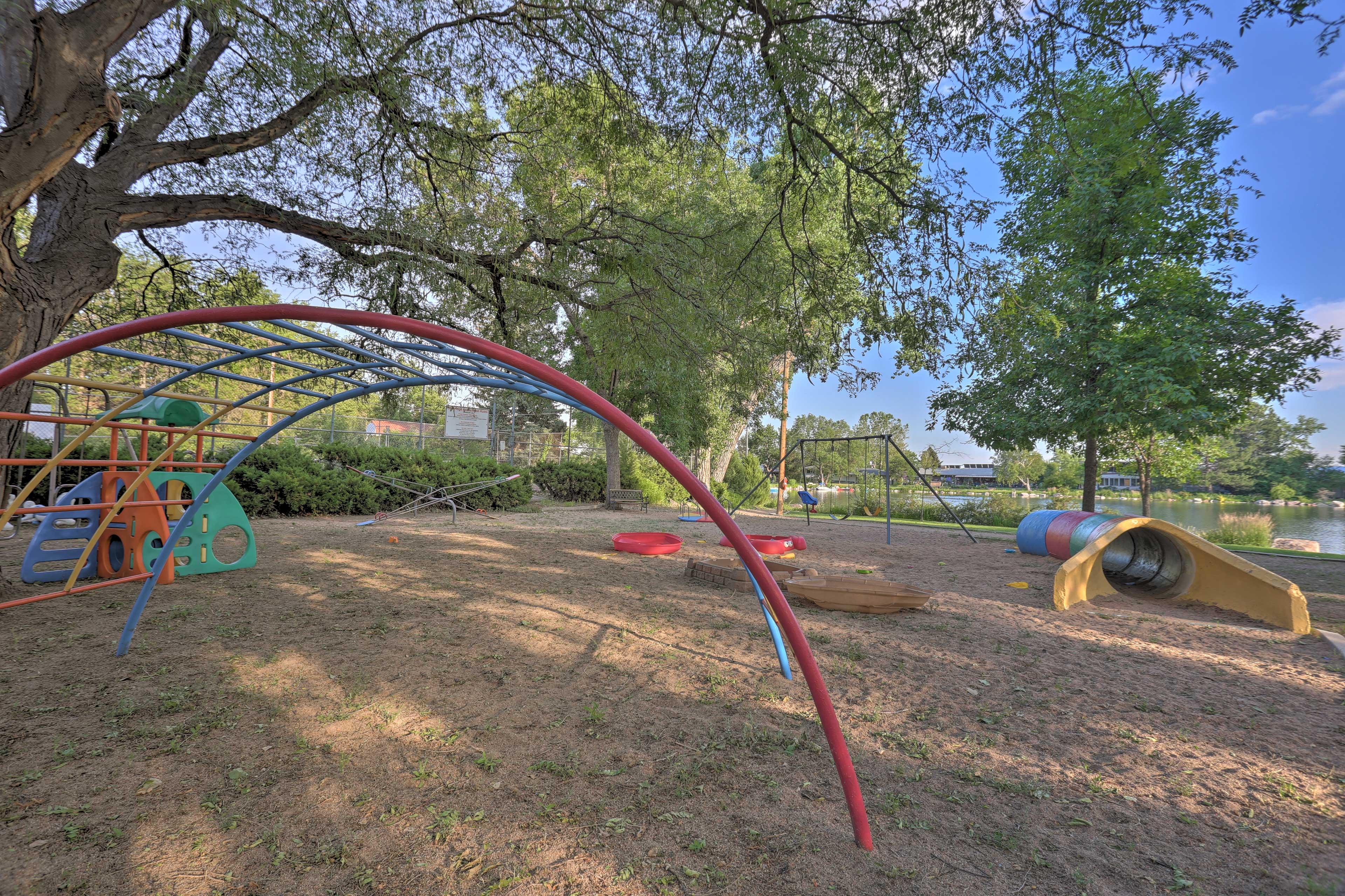 Kids will love swinging over by the playground.