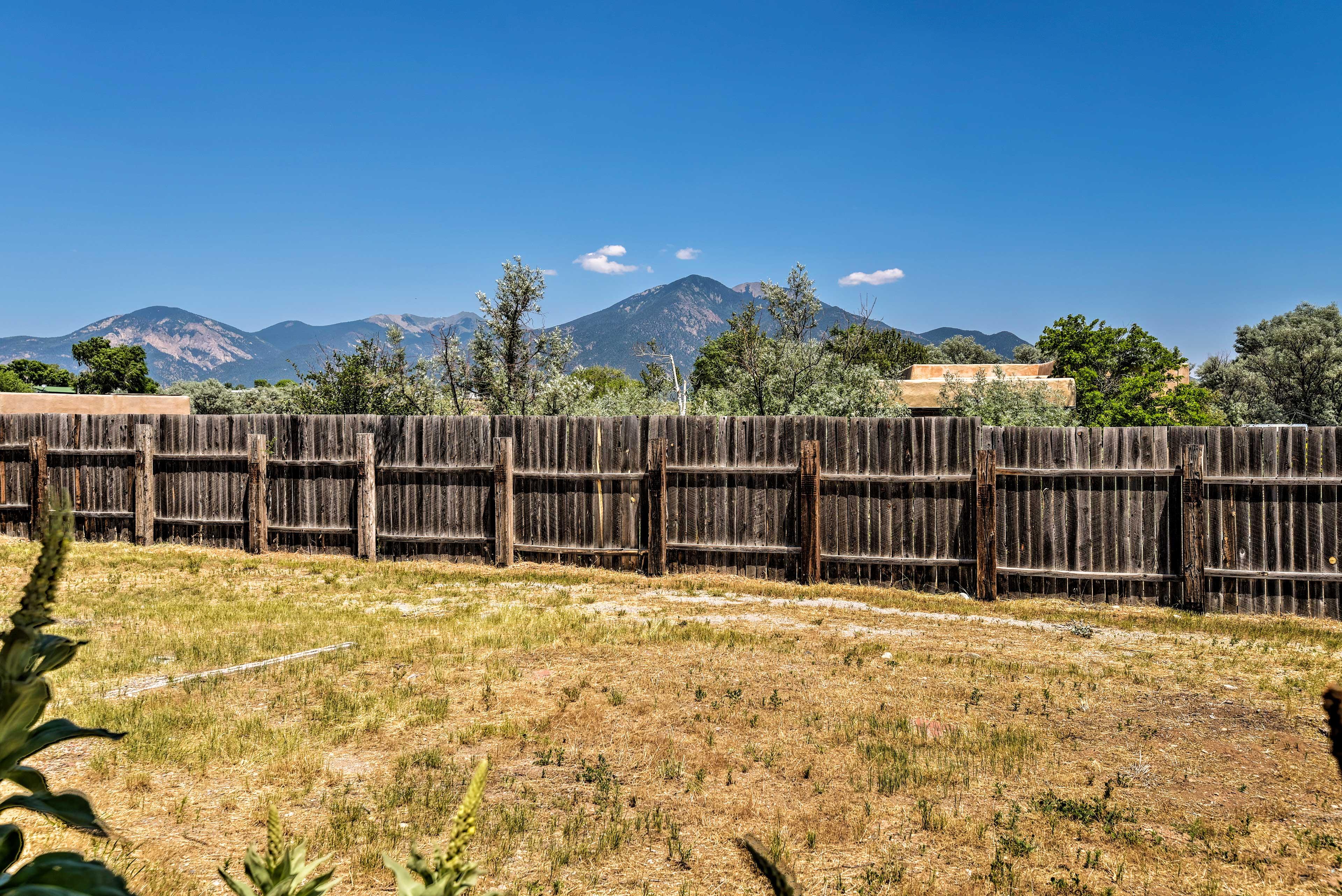 Take in spectacular views of the Taos Mountain Range.