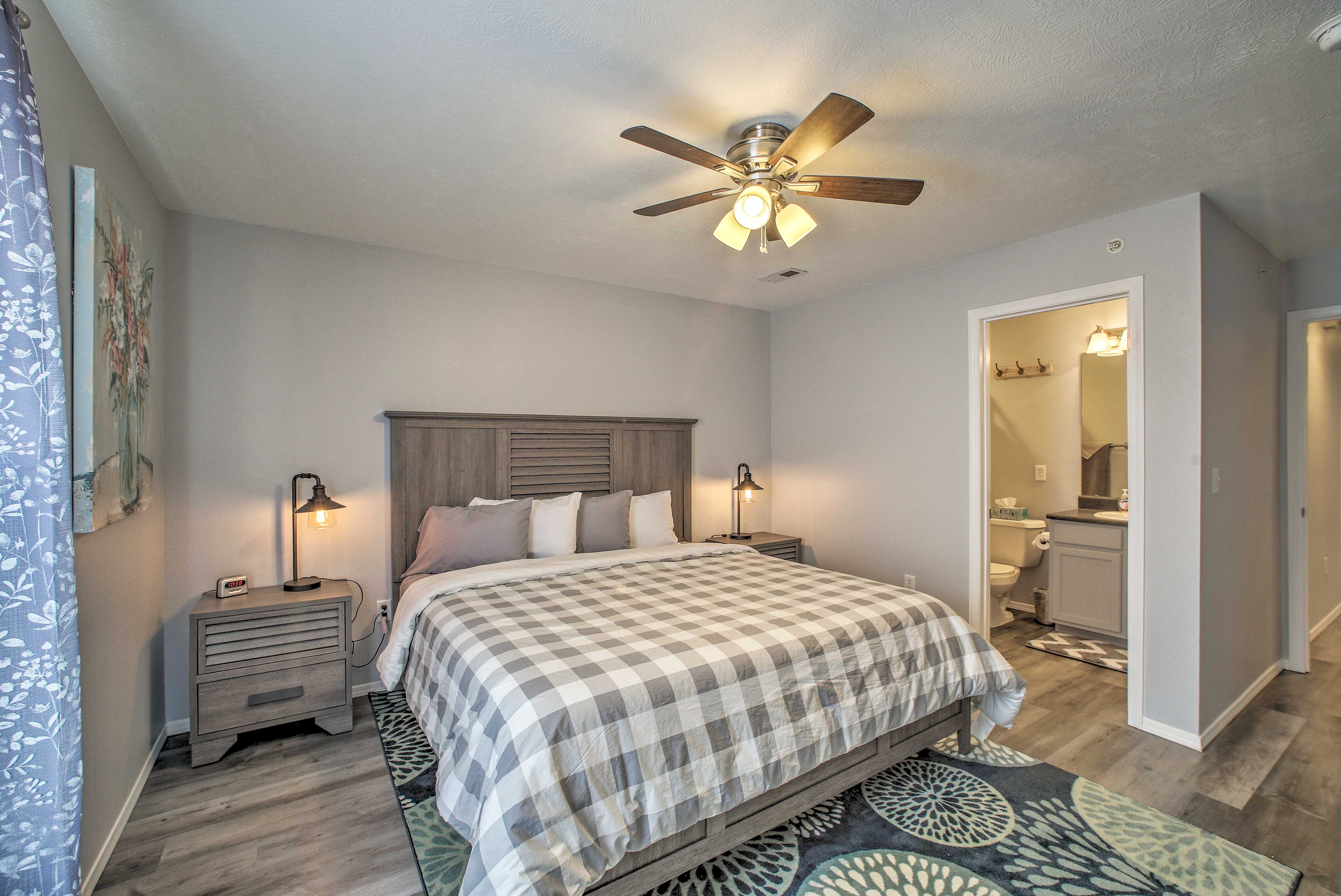 Two can claim this master suite as their sleeping sanctuary.