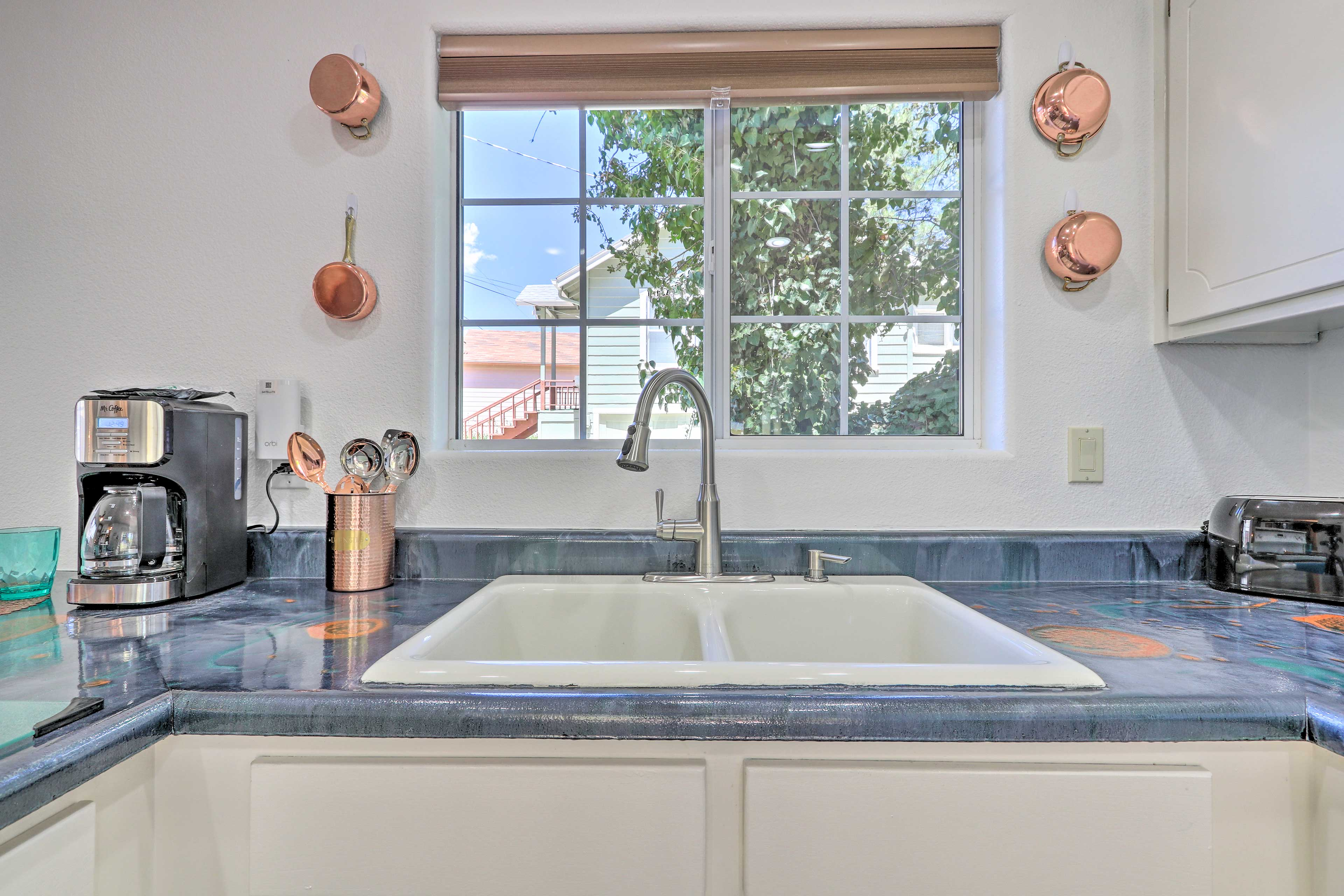 The countertops add a unique touch to the entire kitchen!