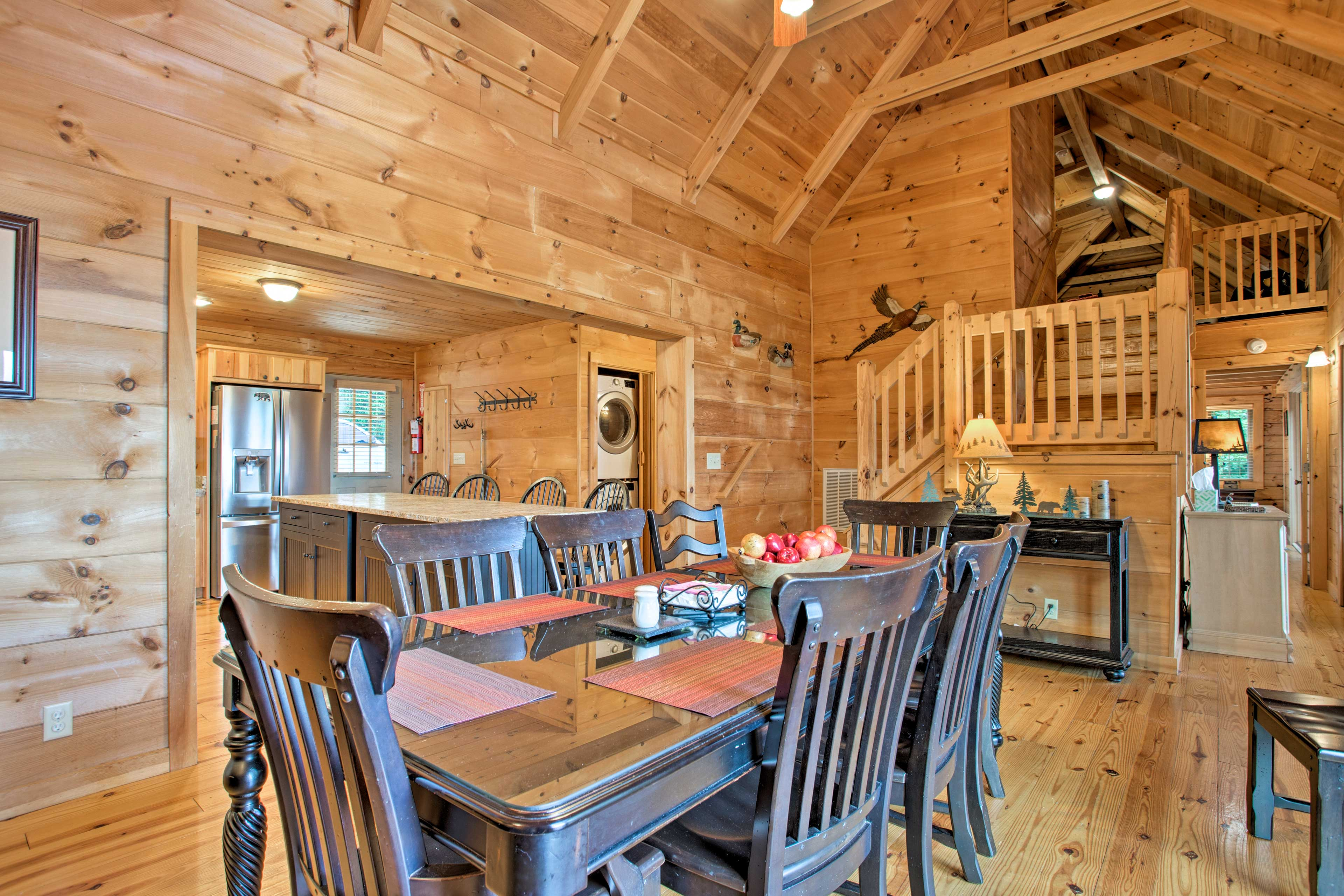 The spacious dining area offers seating for the whole family.