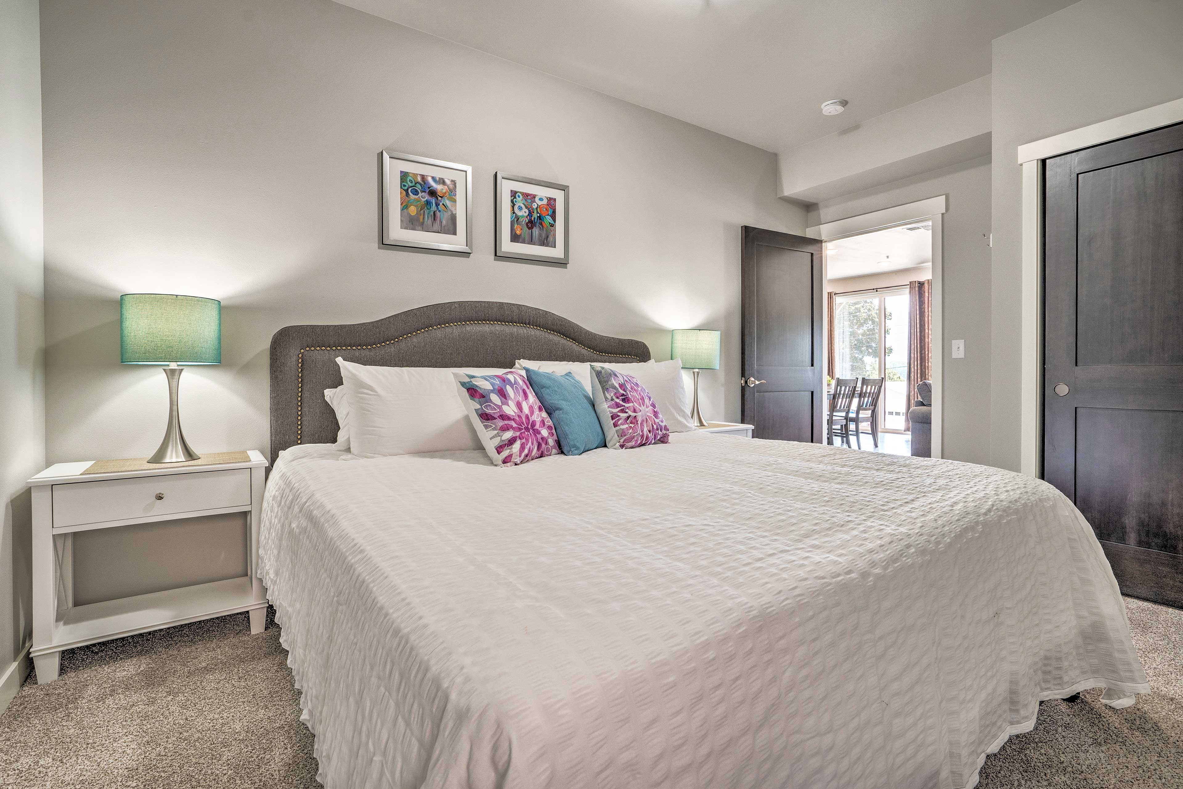You'll find a king bed in this first bedroom.