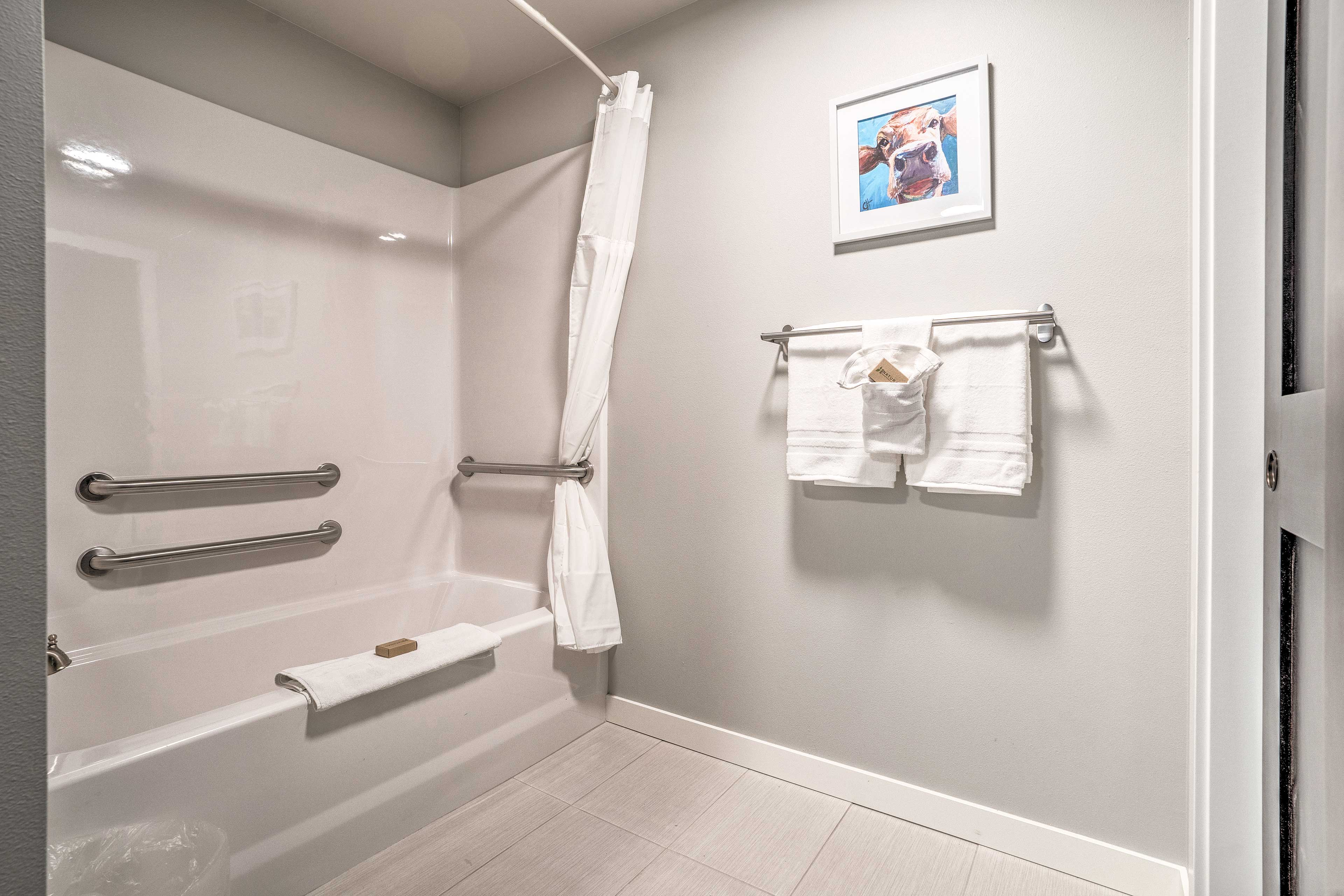 There are grab rails in the shower/tub combo for your convenience.
