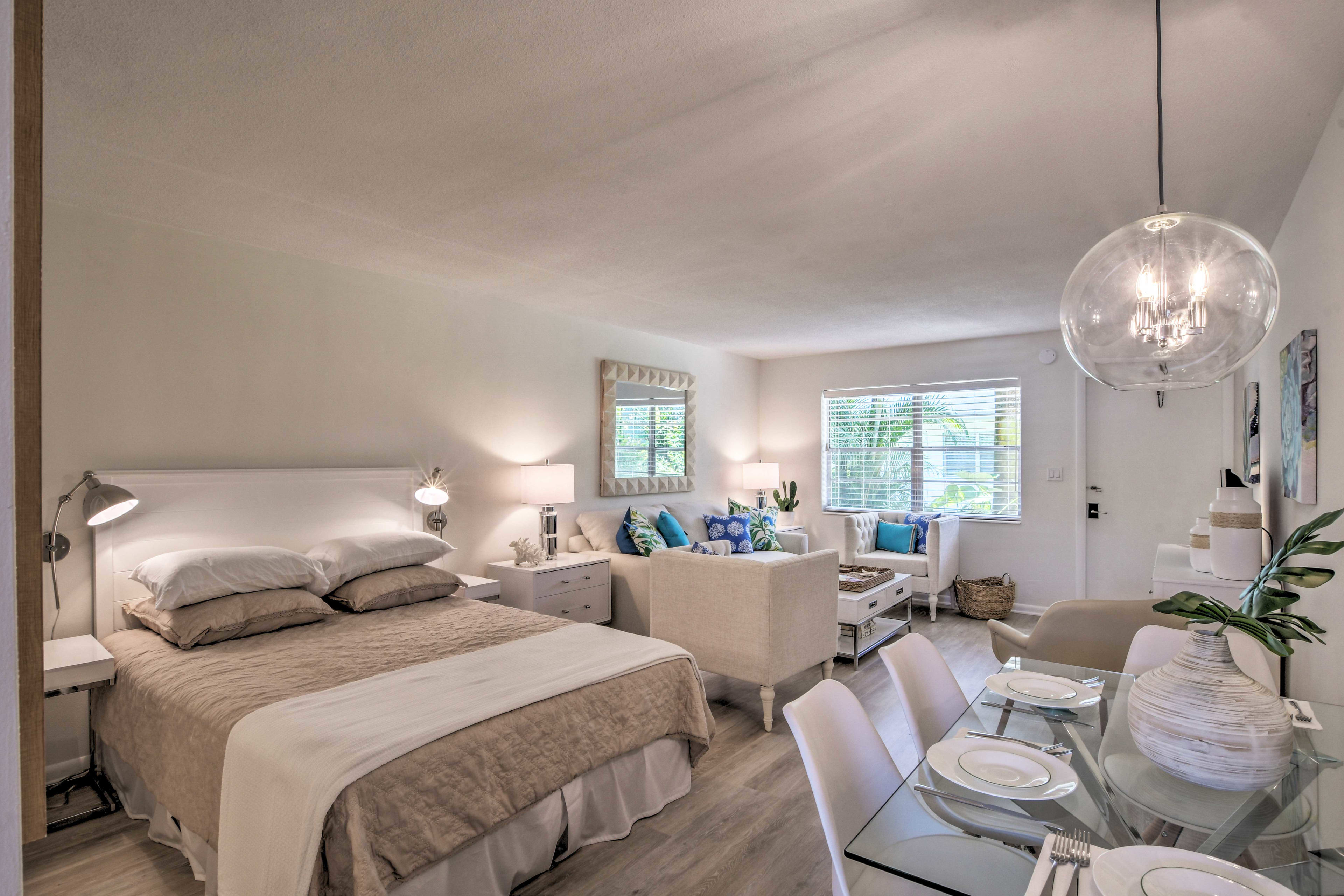 The studio offers a queen-sized bed.