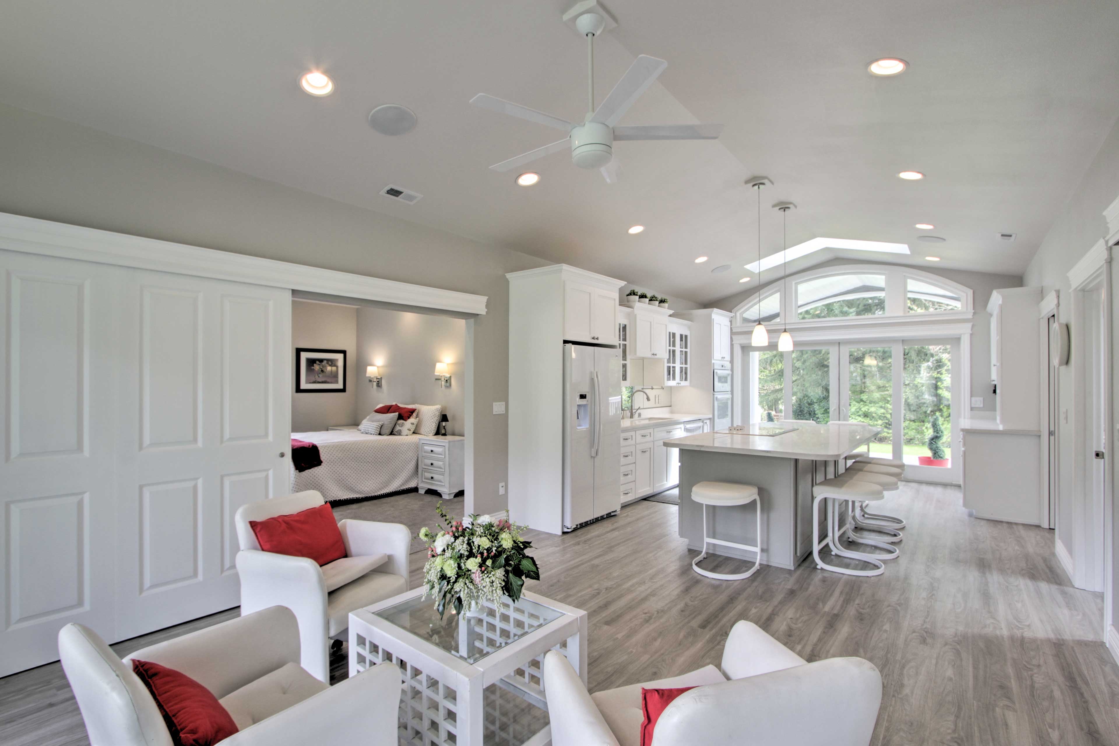 The open-concept layout is ideal for close friends or a family.