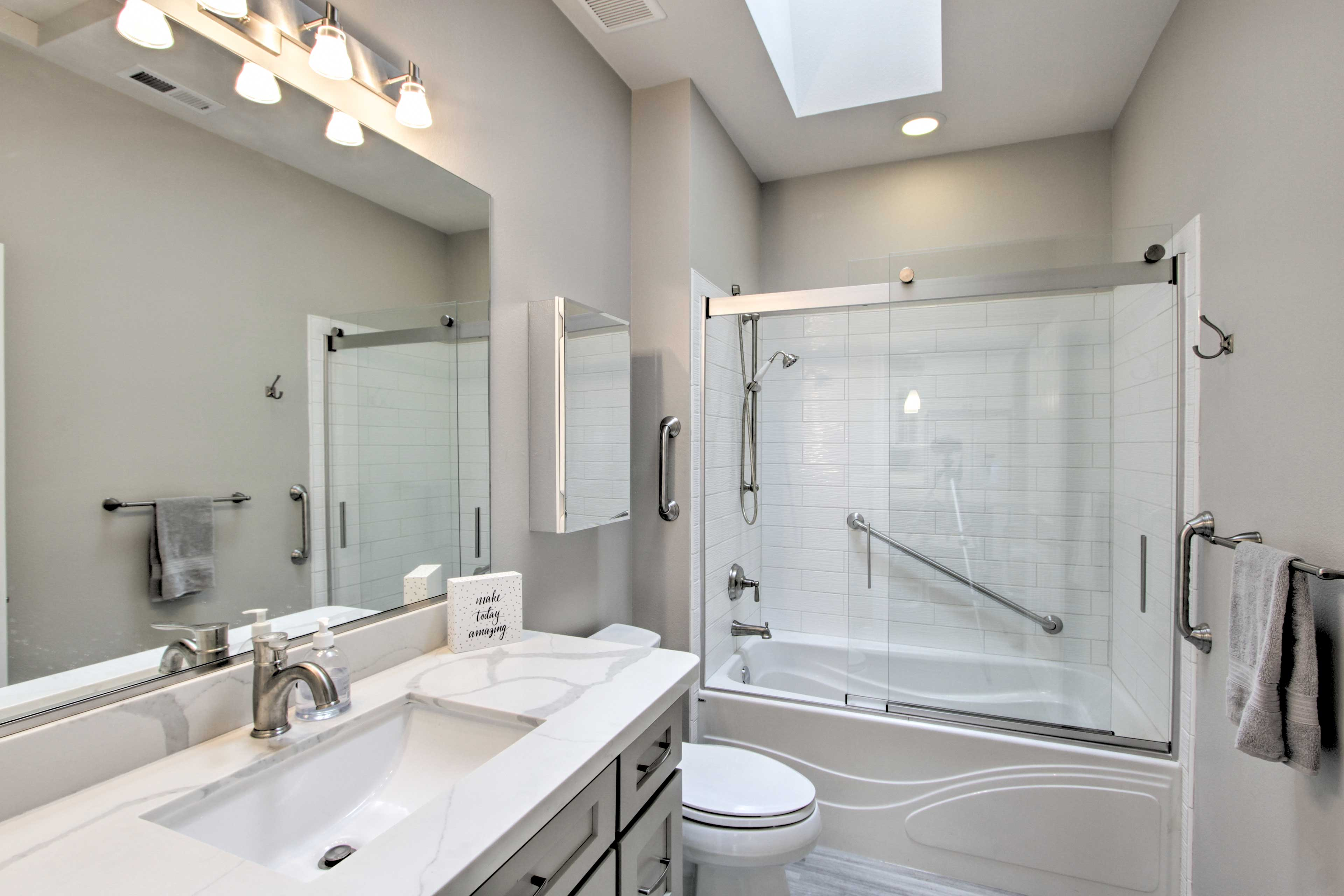 A second pristine bathroom offers added privacy for your crew!