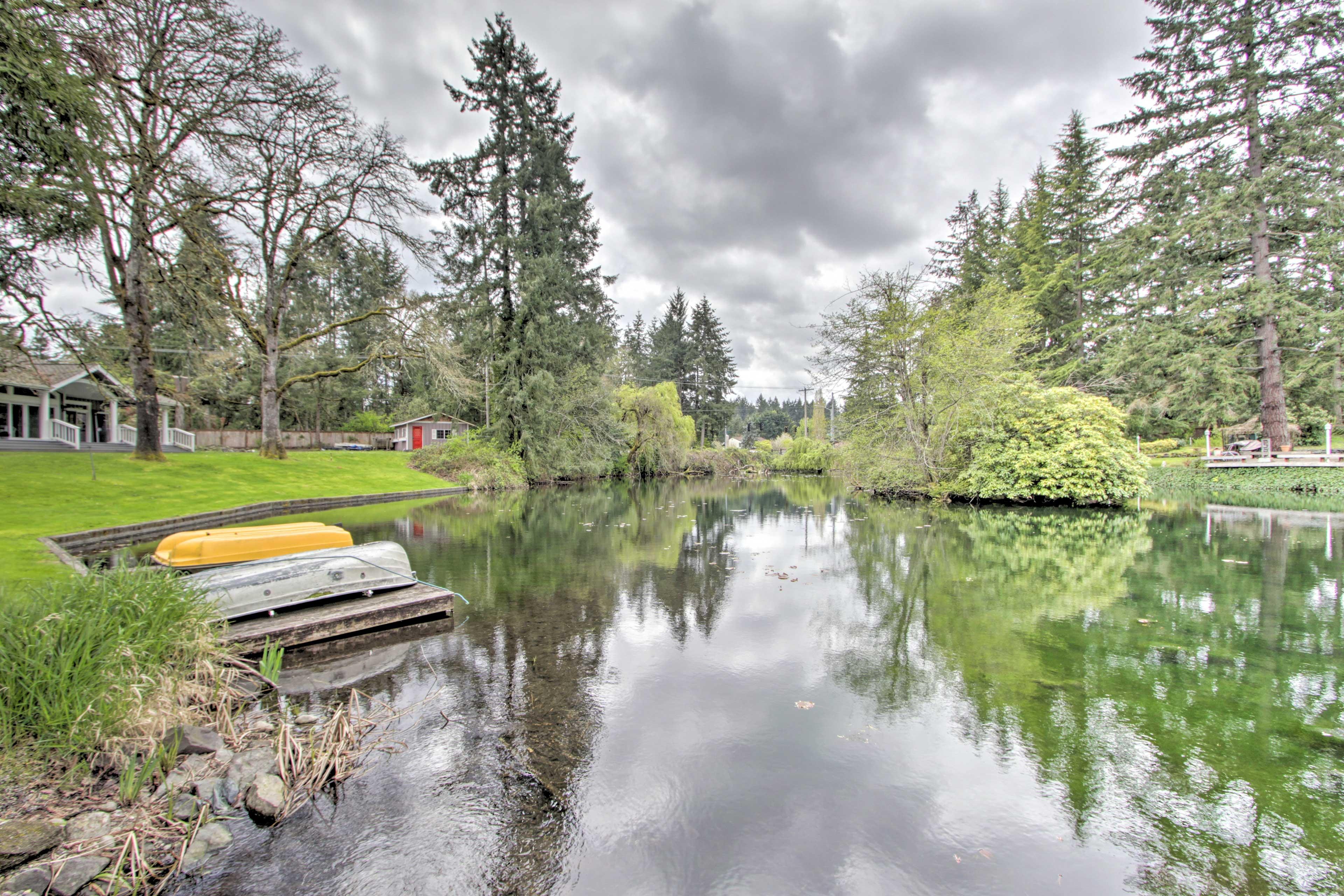 Enjoy leisurely walks around the pond.