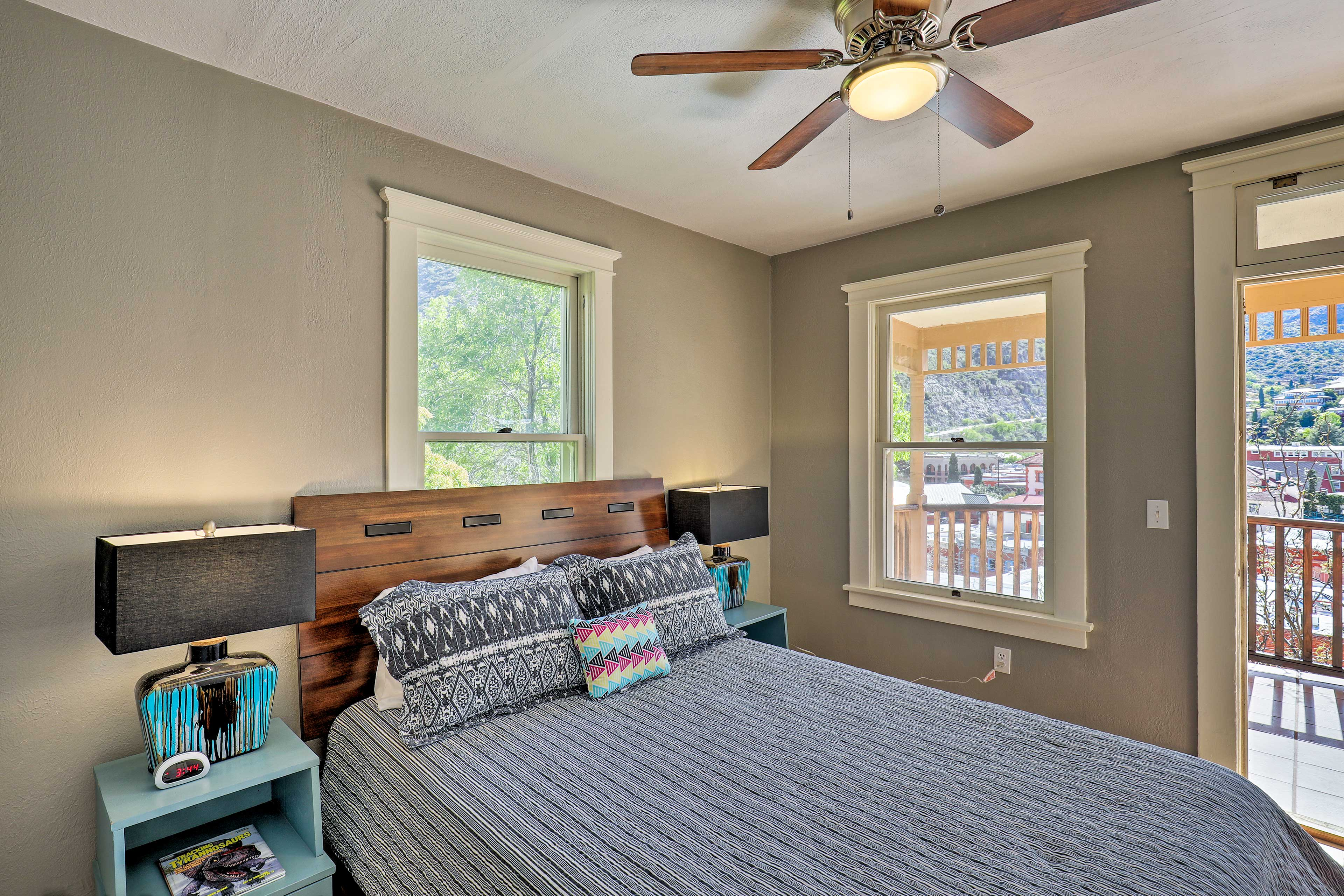 The ceiling fan will help keep you cool.