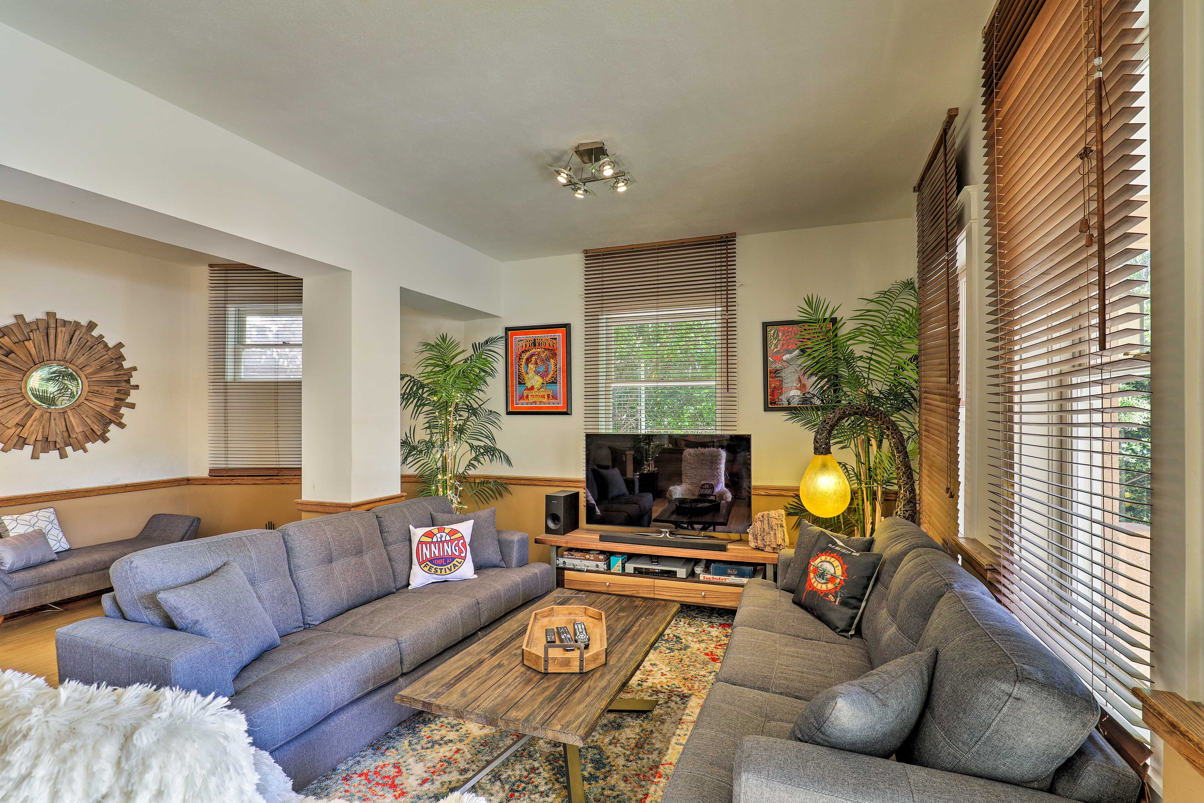 Relax on the sofa and watch a show on the flat-screen TV.