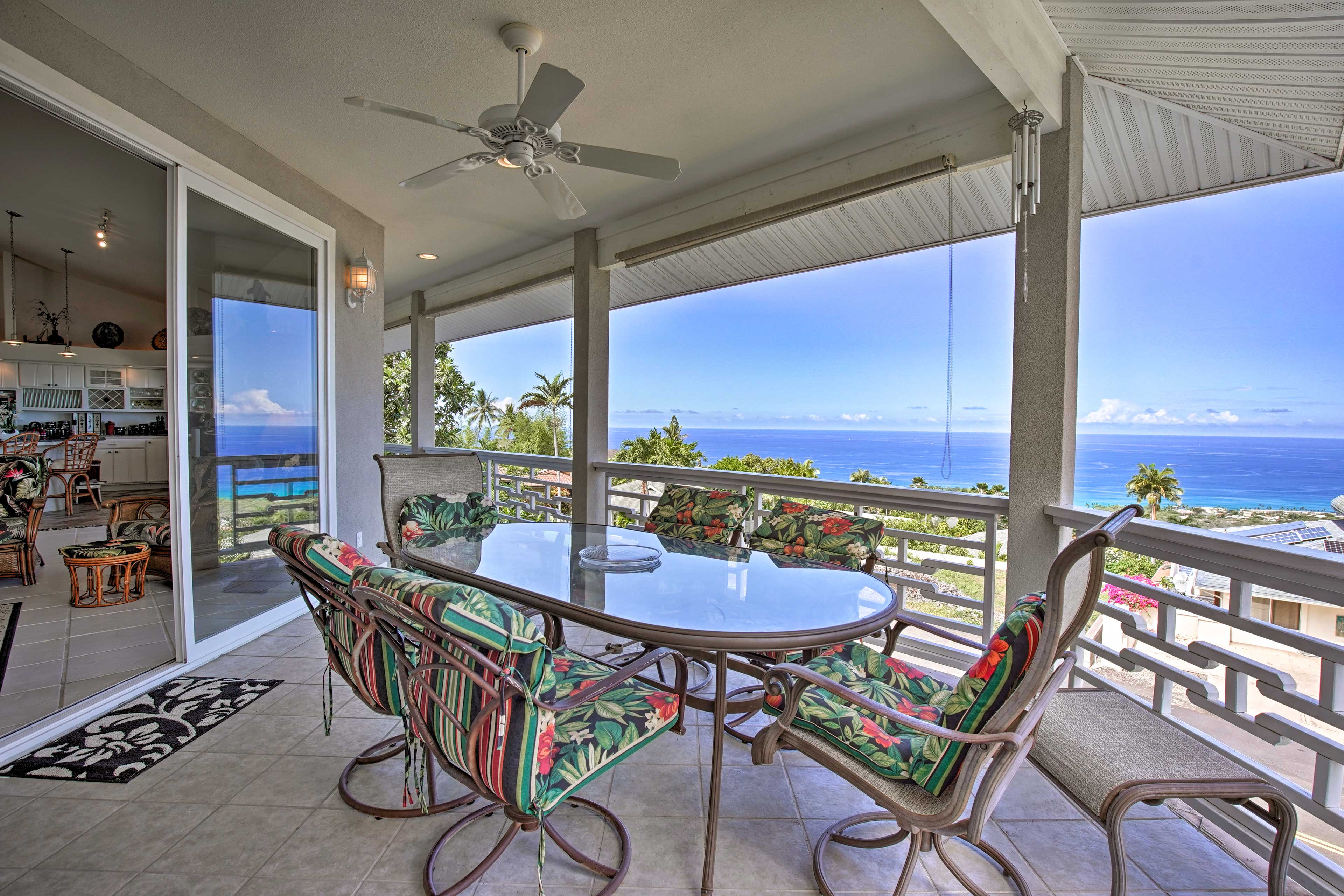 Watch dolphins, turtles, whales and superb sunsets from the top floor lanai.