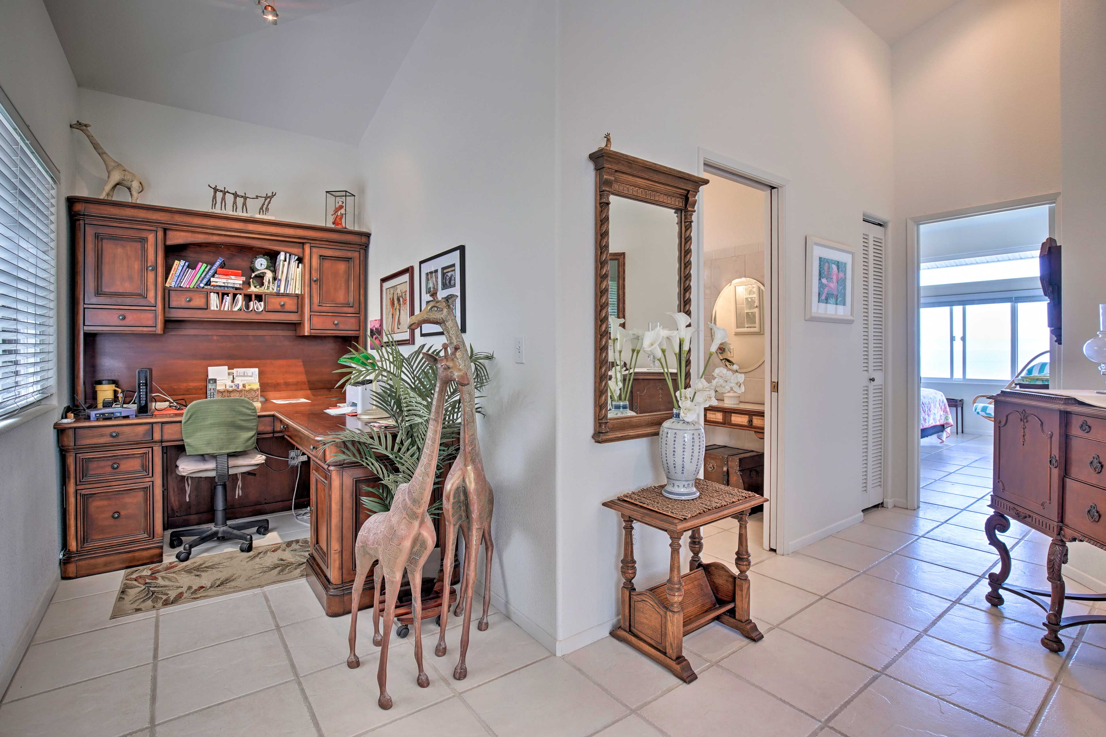 Can't disconnect? You'll find several work spaces/desks throughout the home.