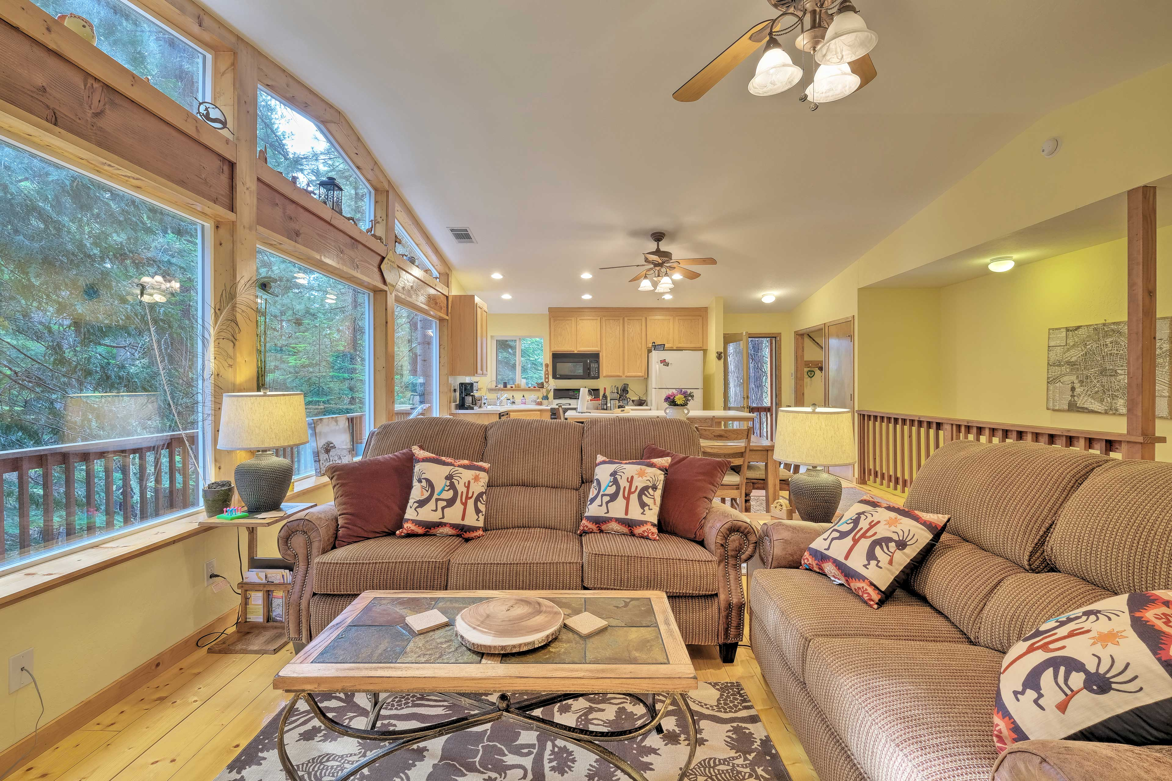 The home features 2 living spaces detailed in rustic decor.