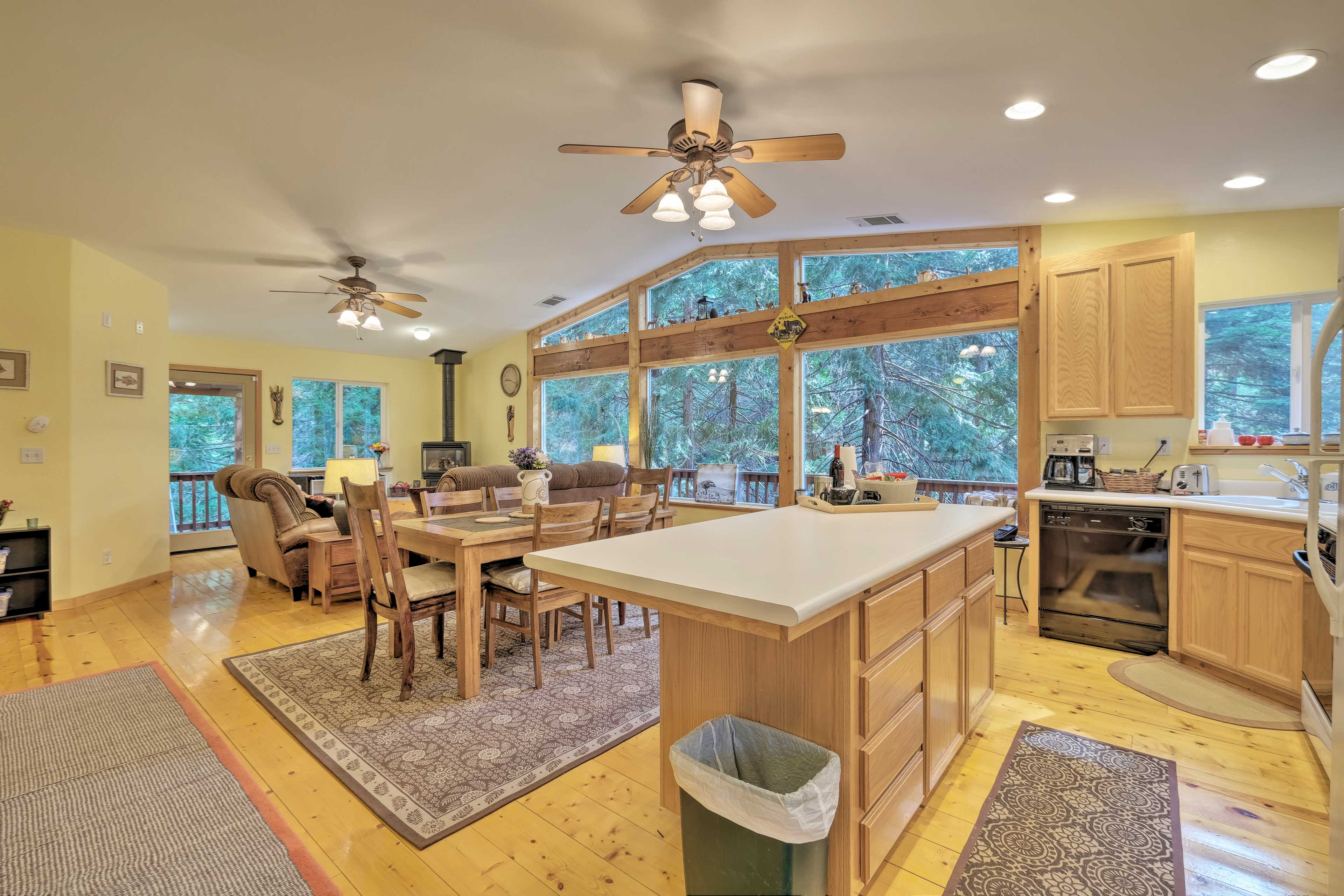 Prepare homemade meals at the kitchen's island countertop.