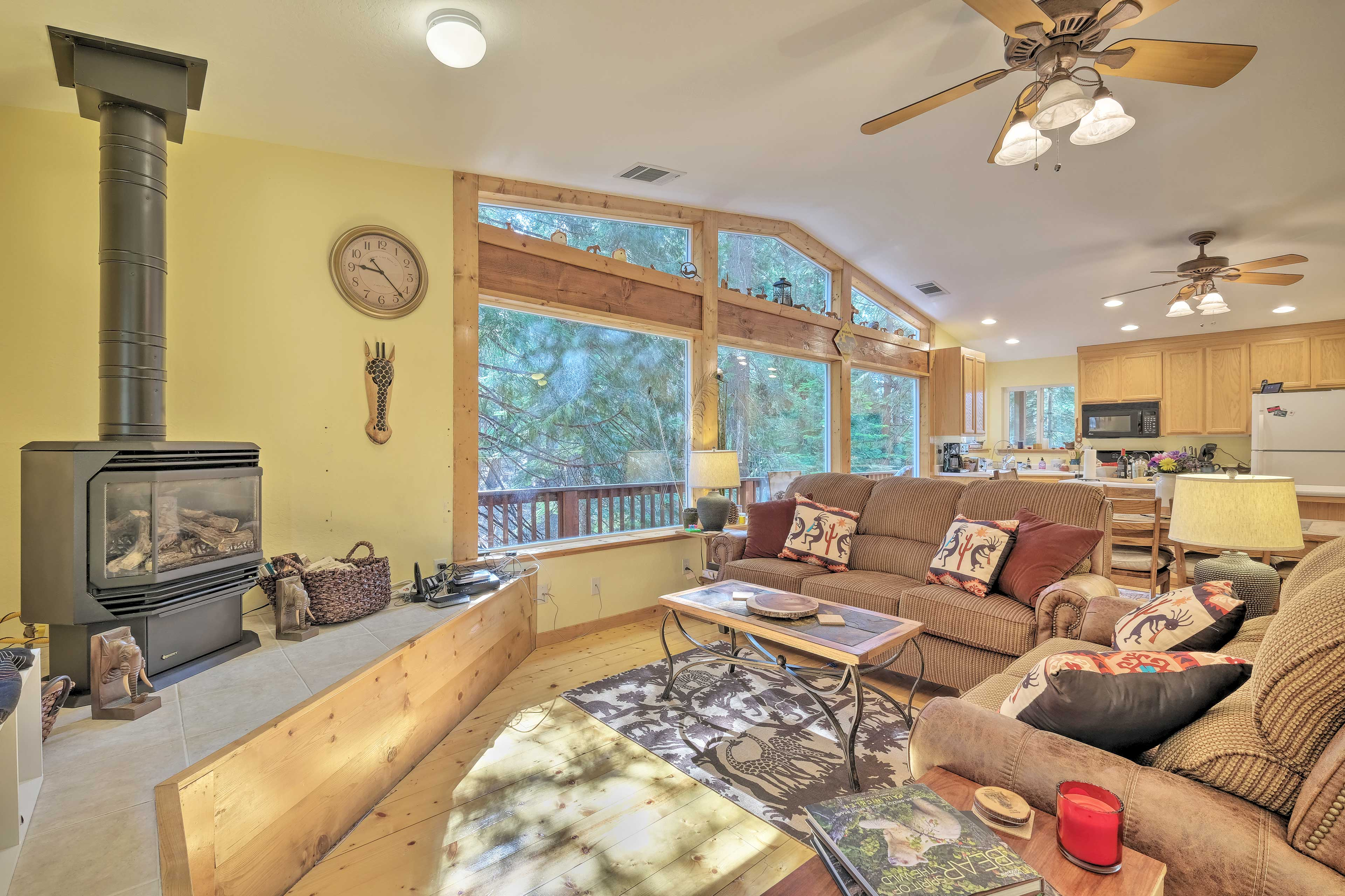 Cozy up with loved ones inside this spacious, modern cabin.