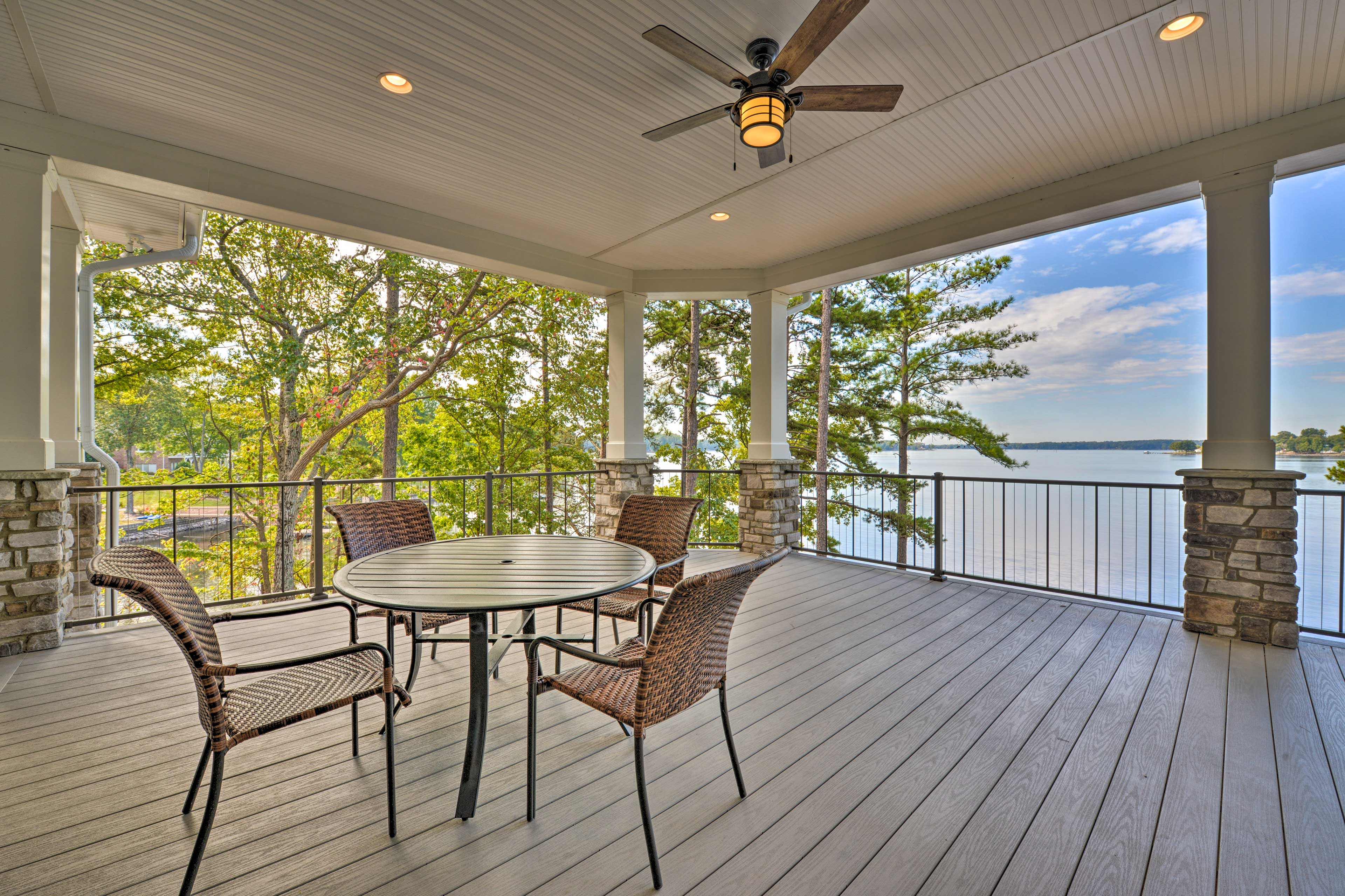 Take in the stunning views of Lake Norman from the large covered deck.