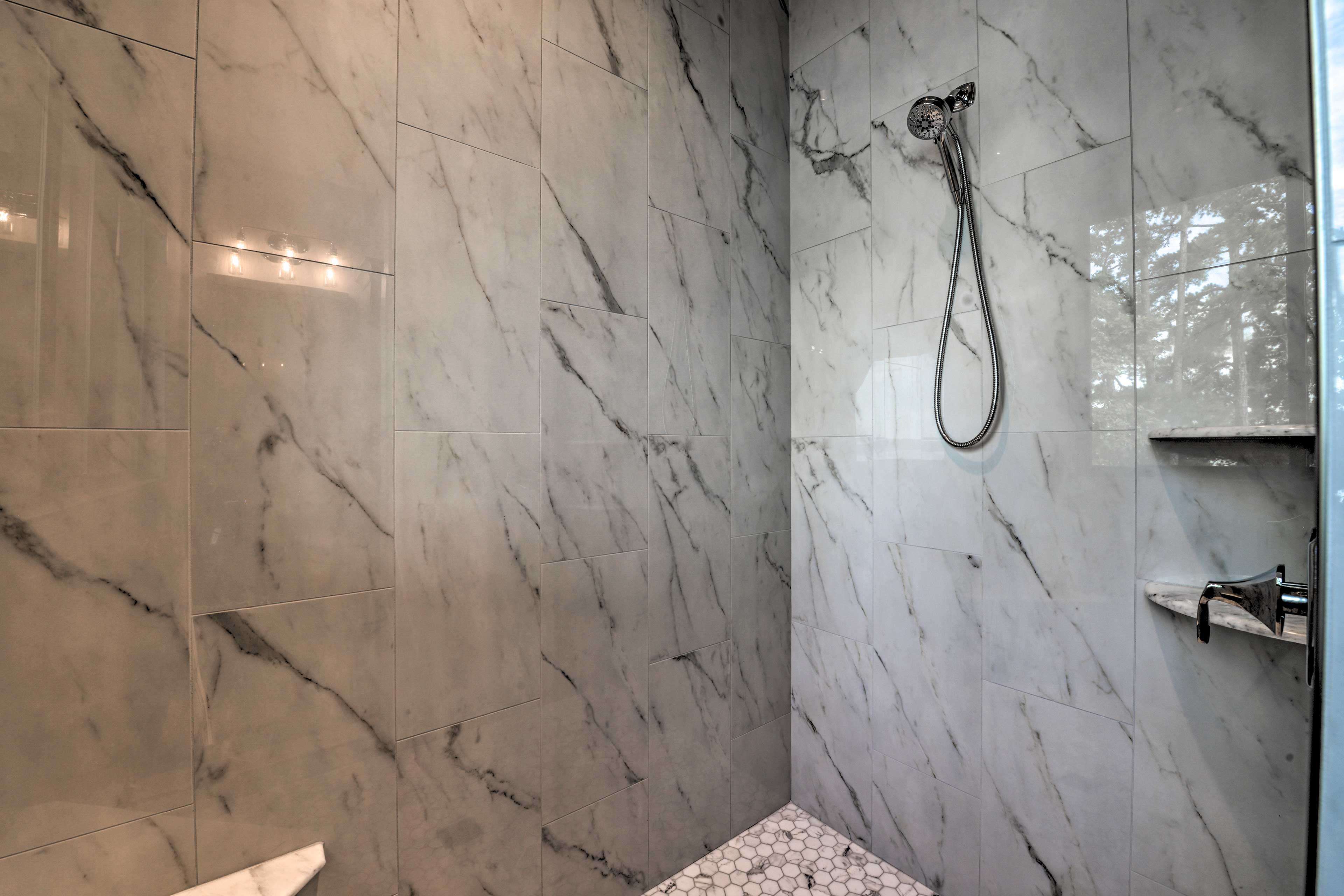 Rinse off the lake water in the walk-in shower.