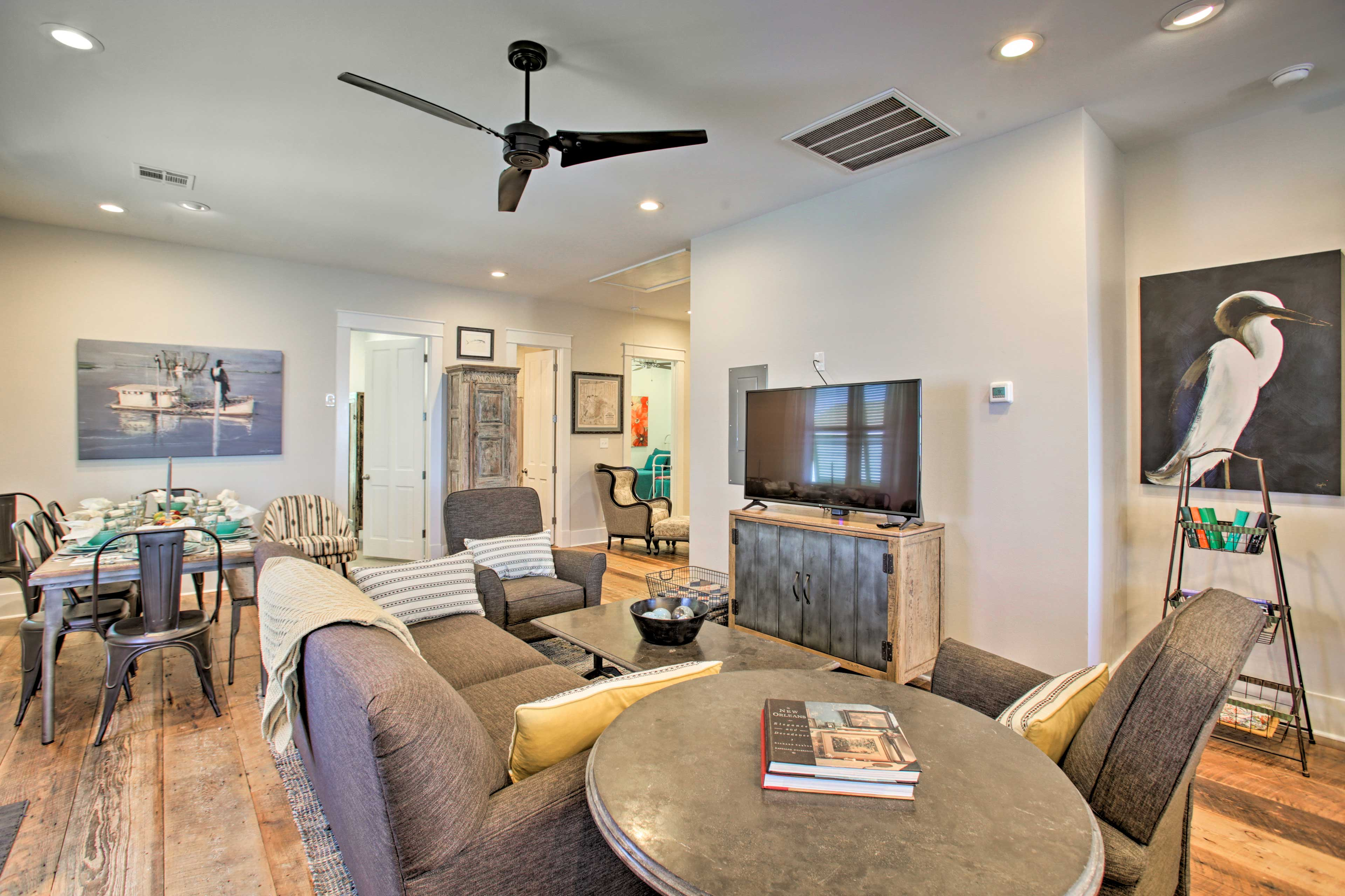 Inside, the bright interior blends rustic cottage style with modern detail.