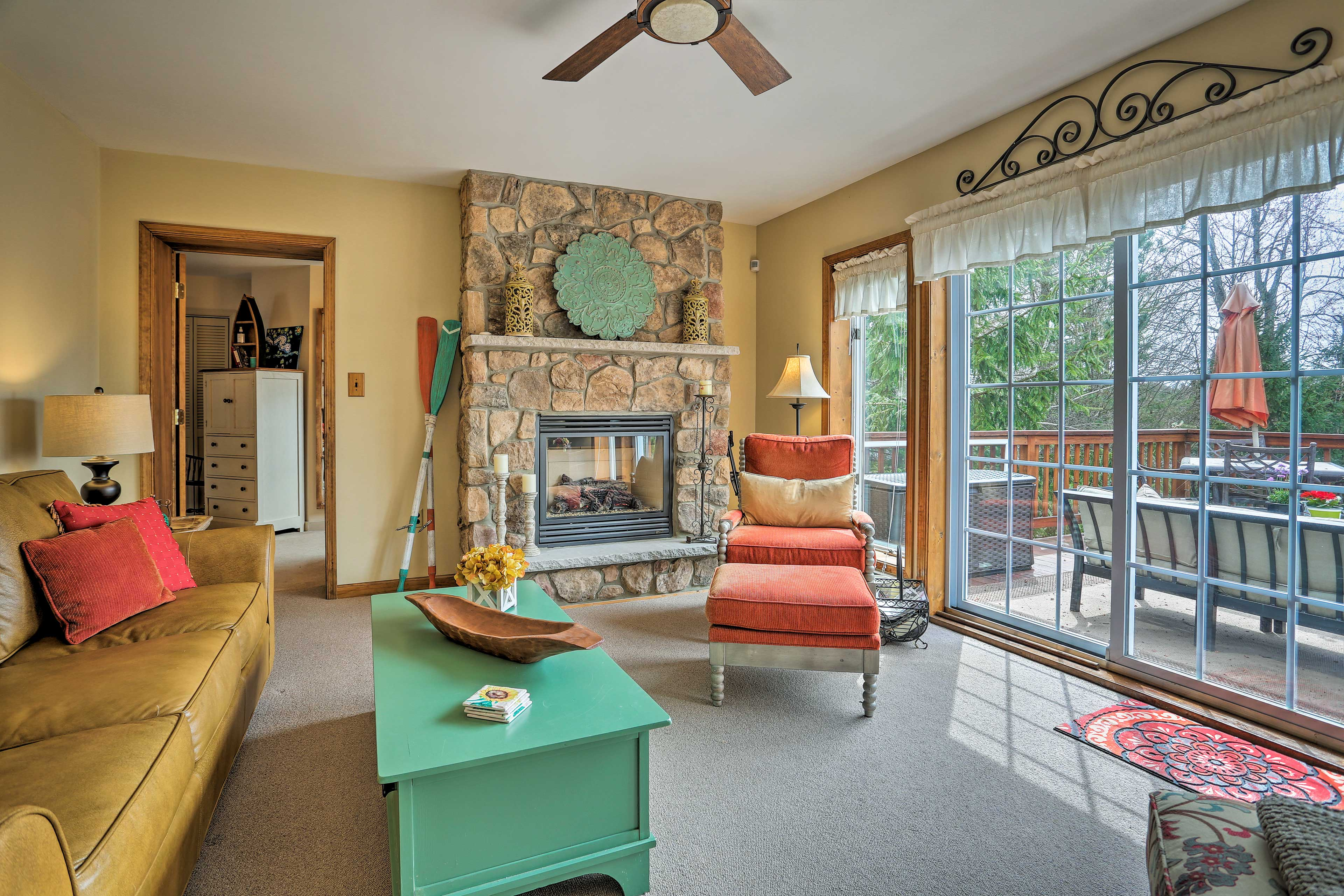 Enjoy the warmth of the gas fireplace.