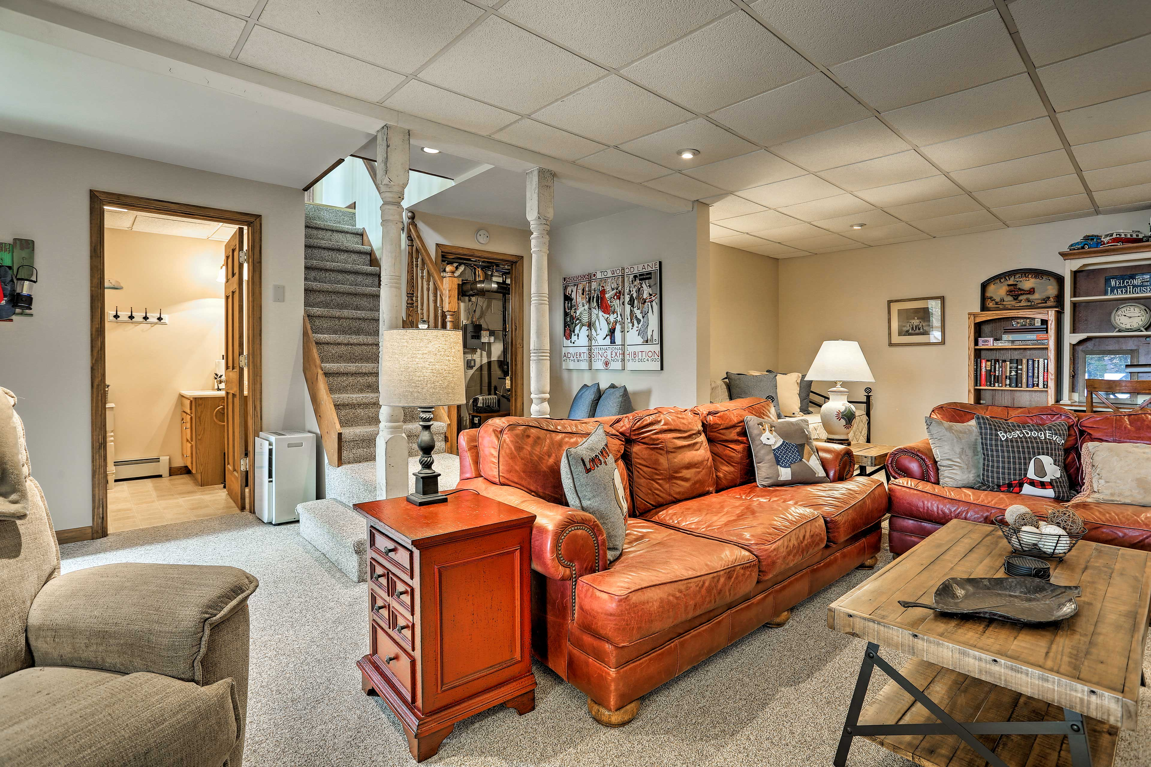 Head downstairs and unwind in the finished basement.