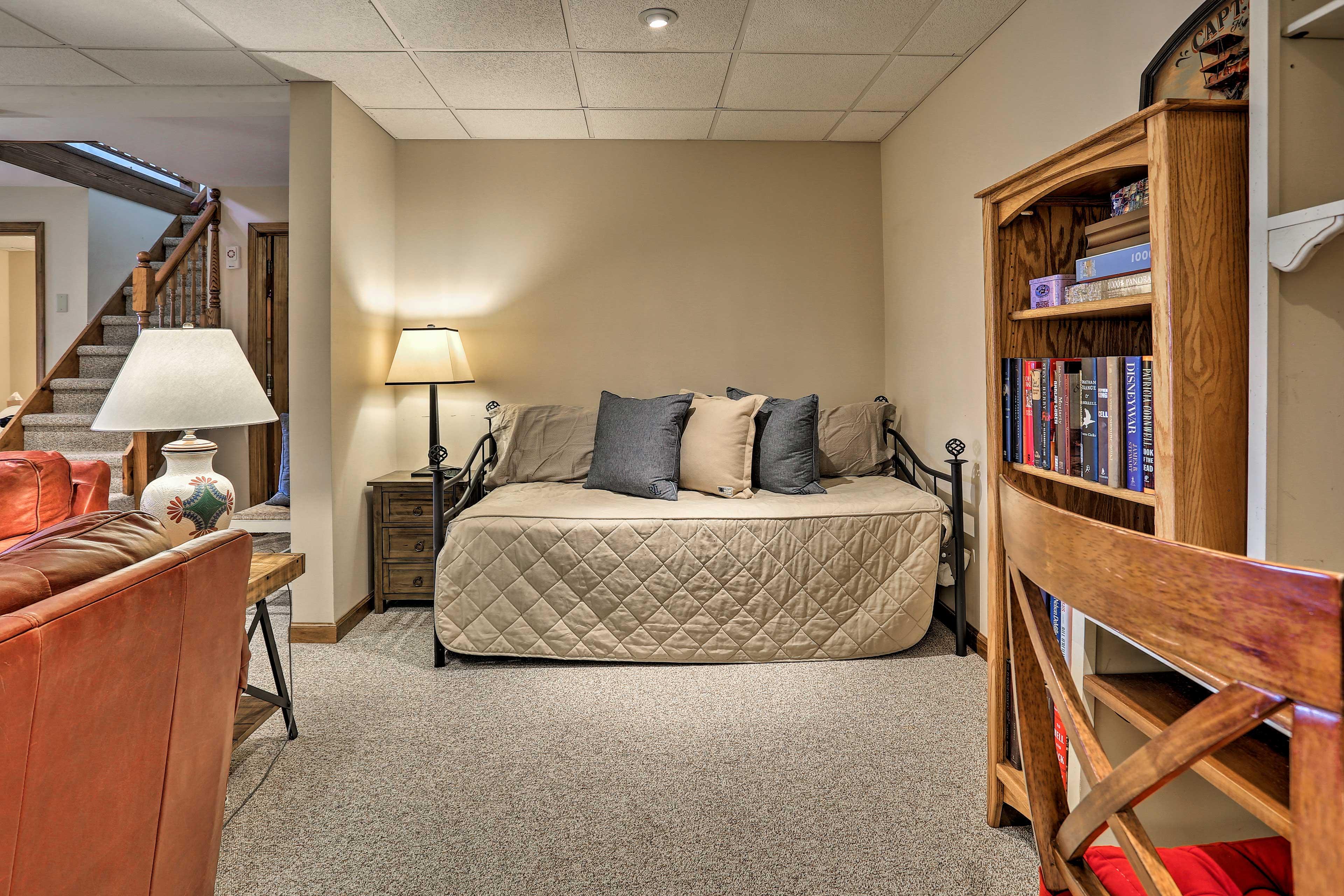 The basement sleeps 2 additional guests.