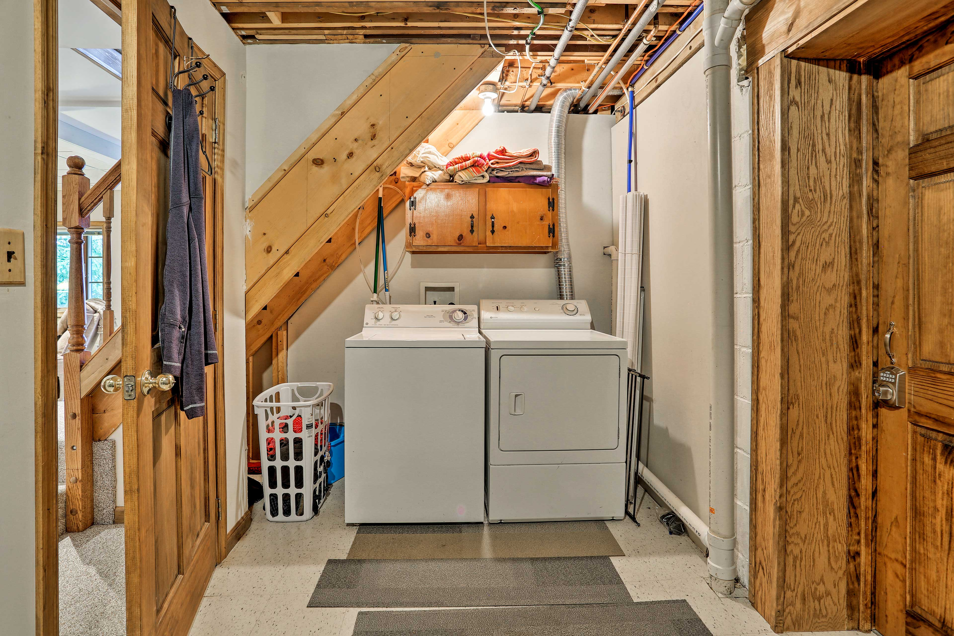 Keep your wardrobe fresh with the washer/dryer.
