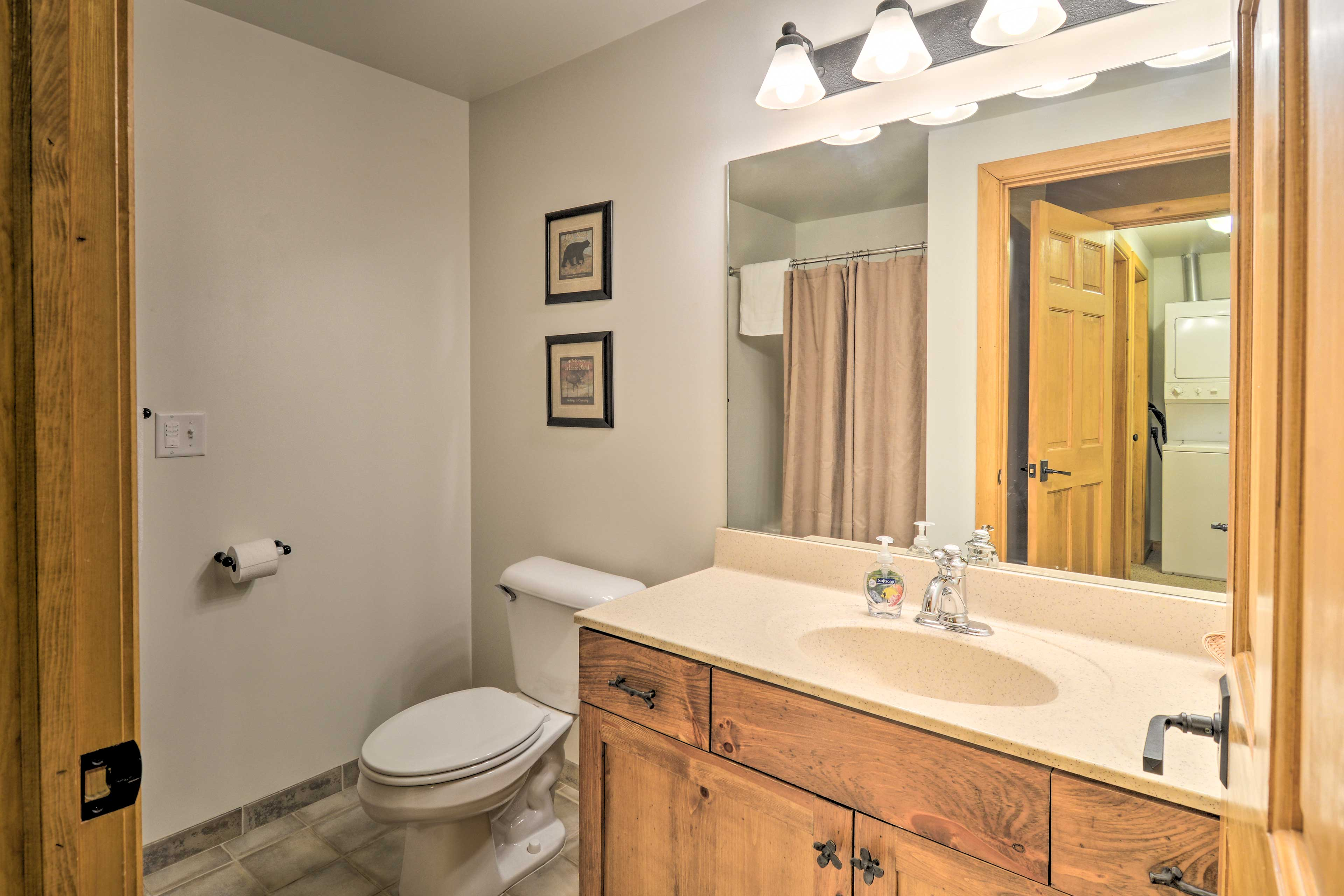 The home is equipped with 3 bathrooms and 1 half bath.