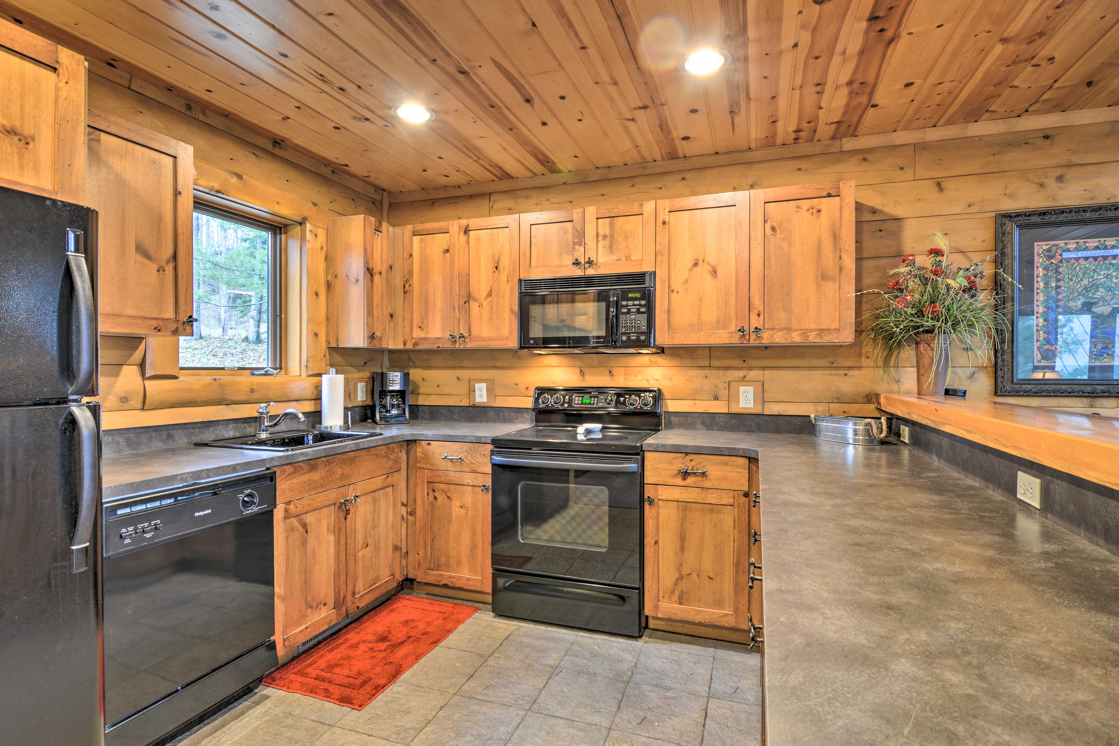 Ample counter space allows you to spread out while you prepare meals.
