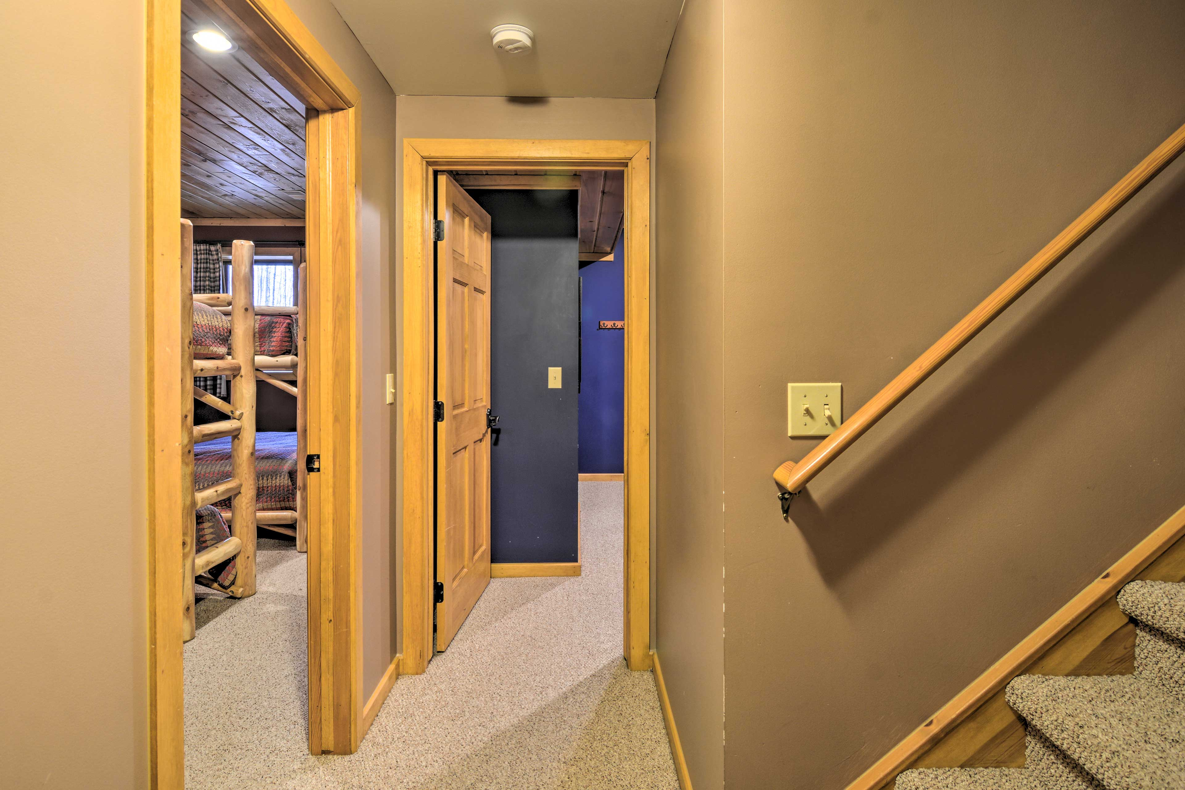 Downstairs, you'll find additional sleeping arrangements.