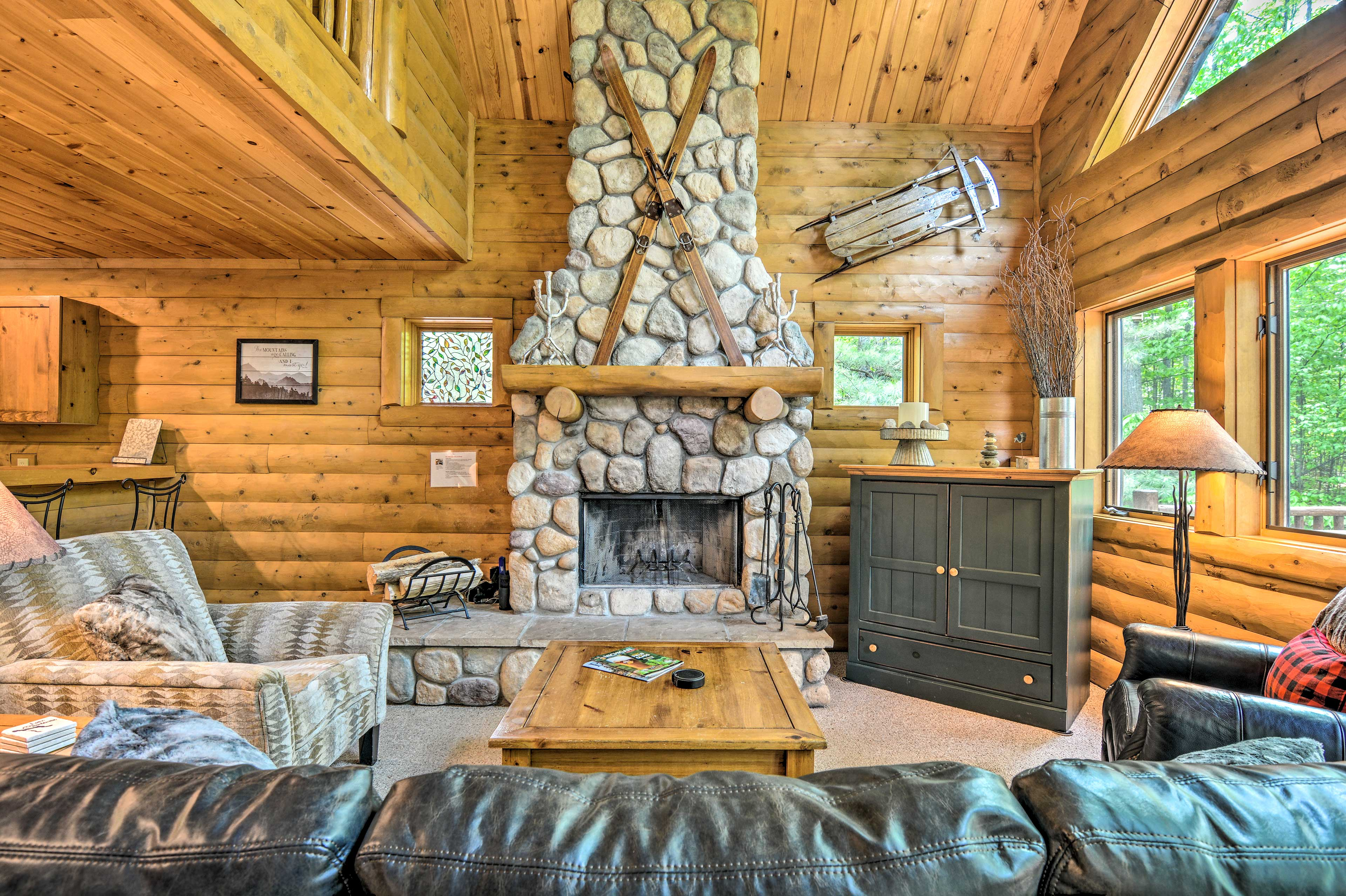 Up to 12 guests can enjoy cozy at-home amenities a short distance from skiing.