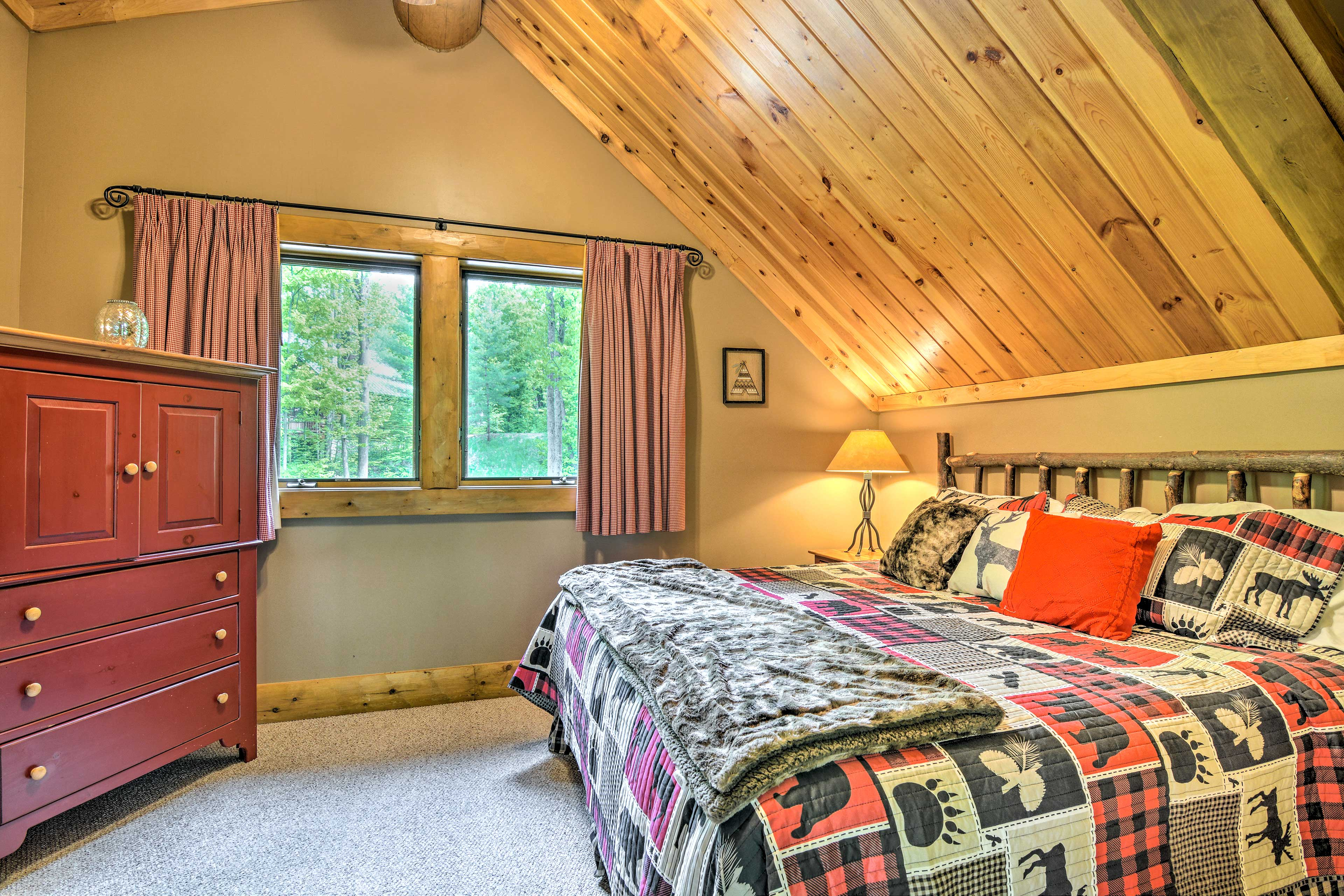 The master bedroom boasts a king bed fit for the heads of the house.