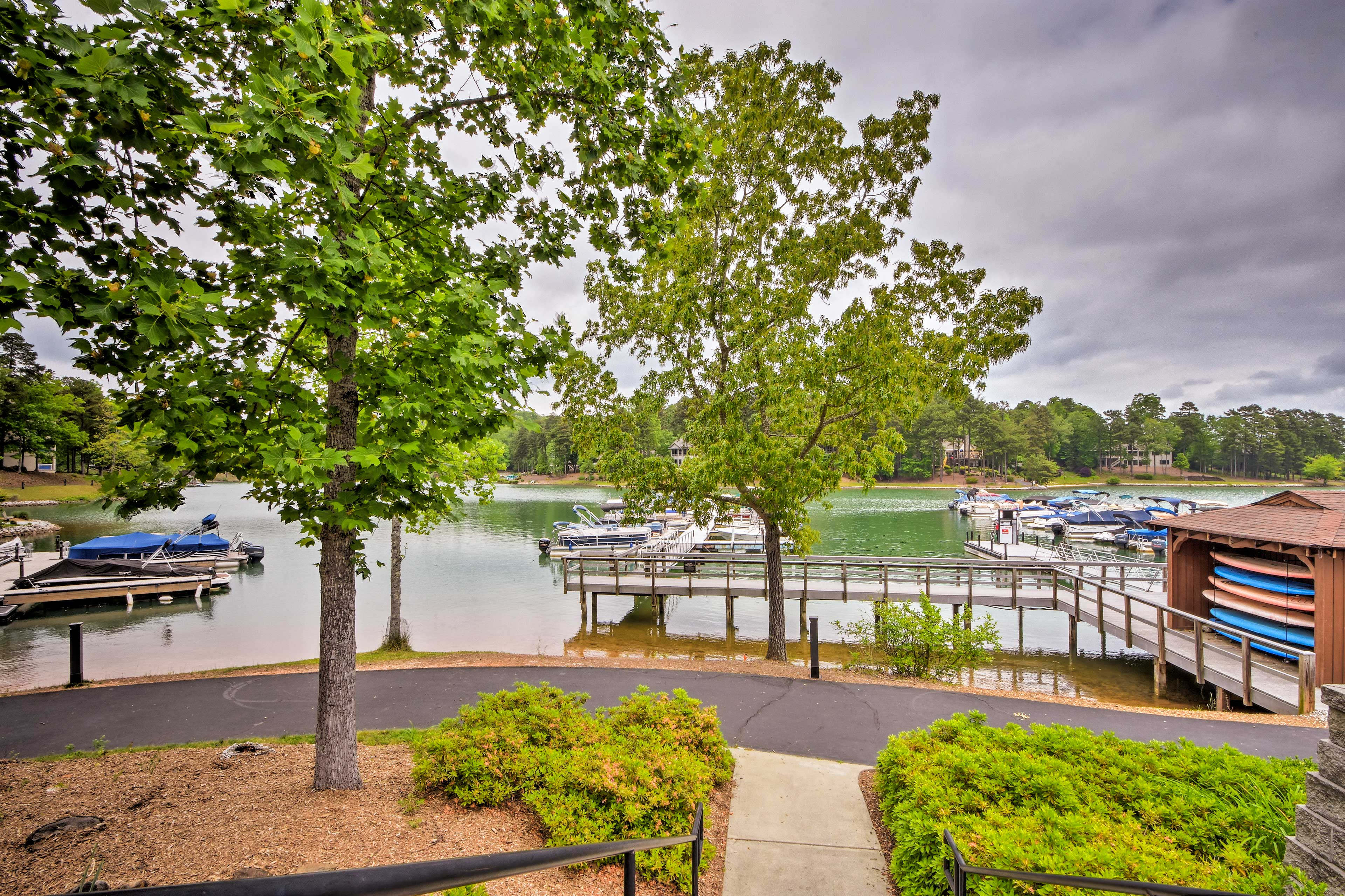 The marina offers paddle board and boat slip rentals.