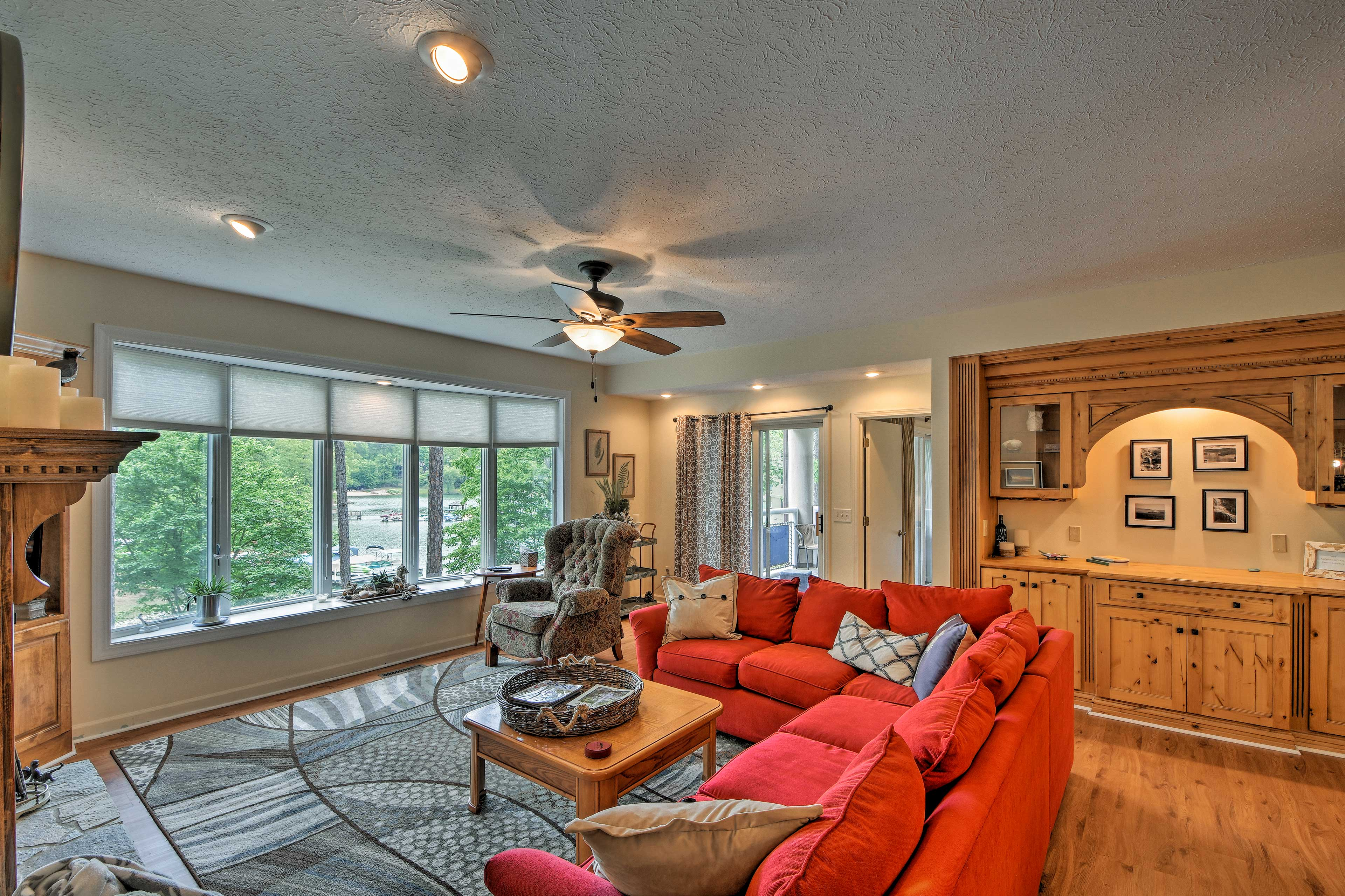 Enjoy views through the large windows overlooking the water.