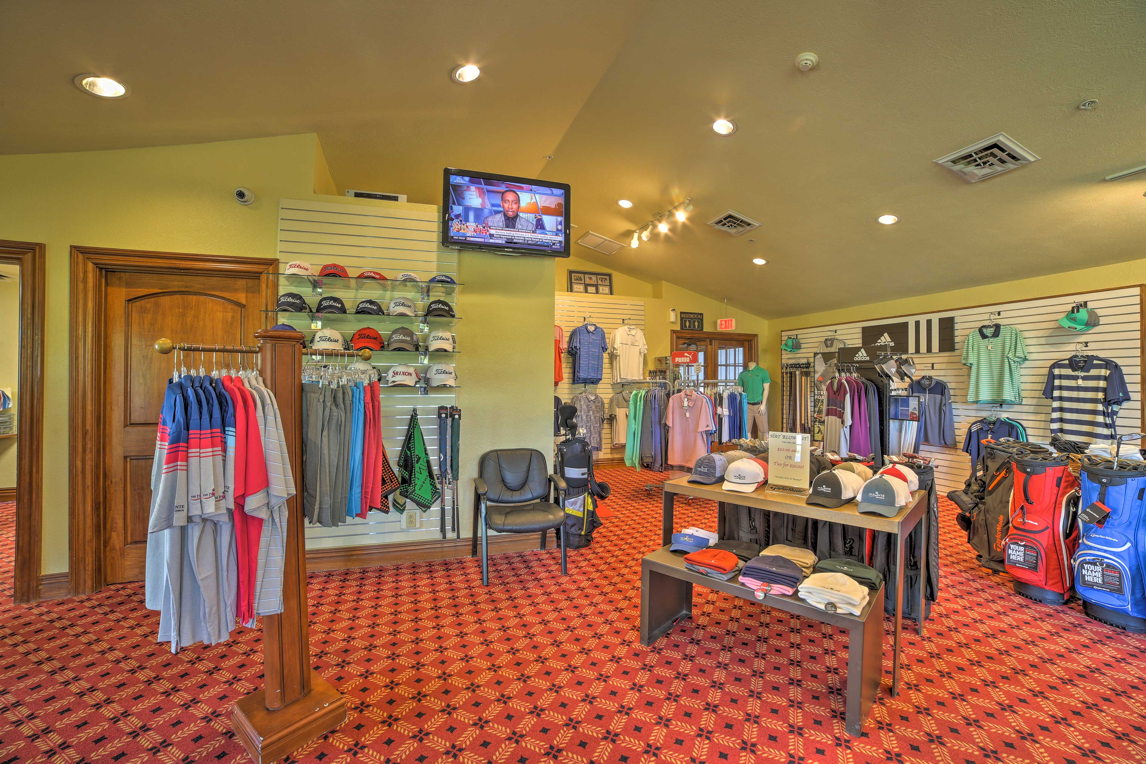 Pick up some golf gear in the local shop!