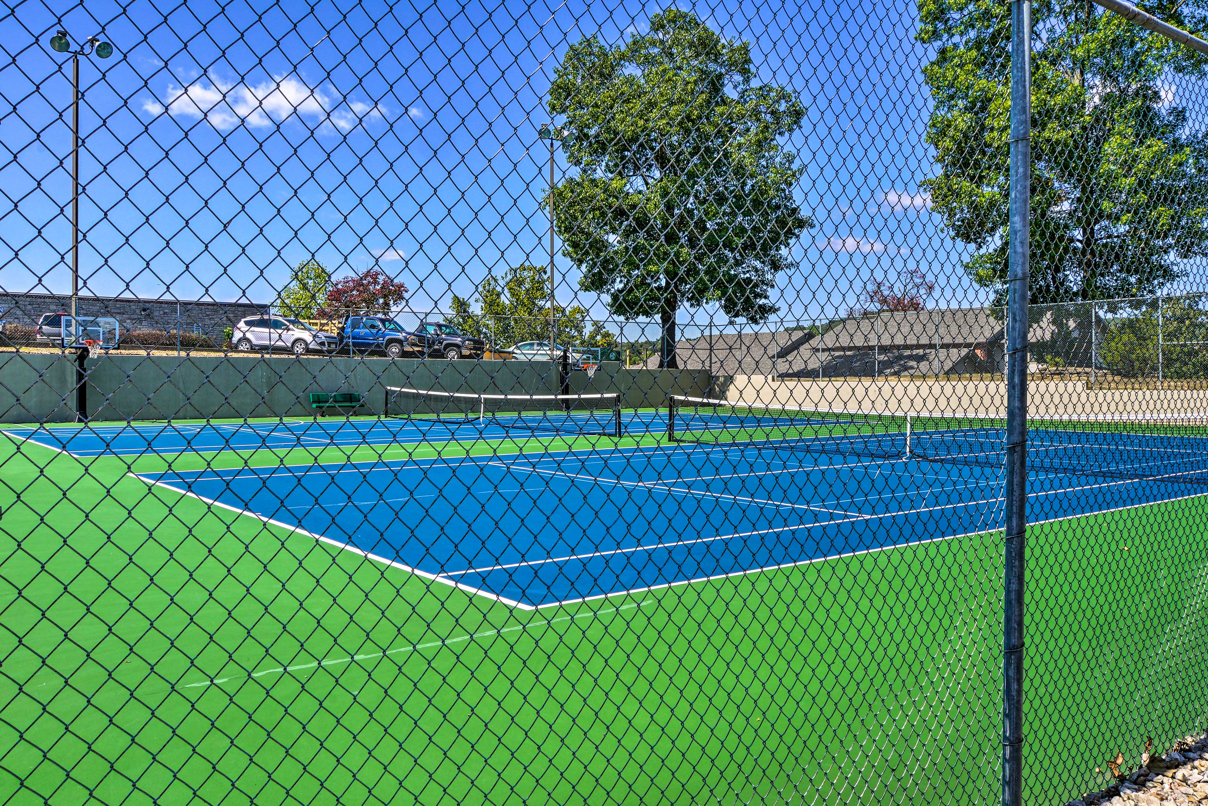 Get your blood pumping with a fast-paced game of tennis.