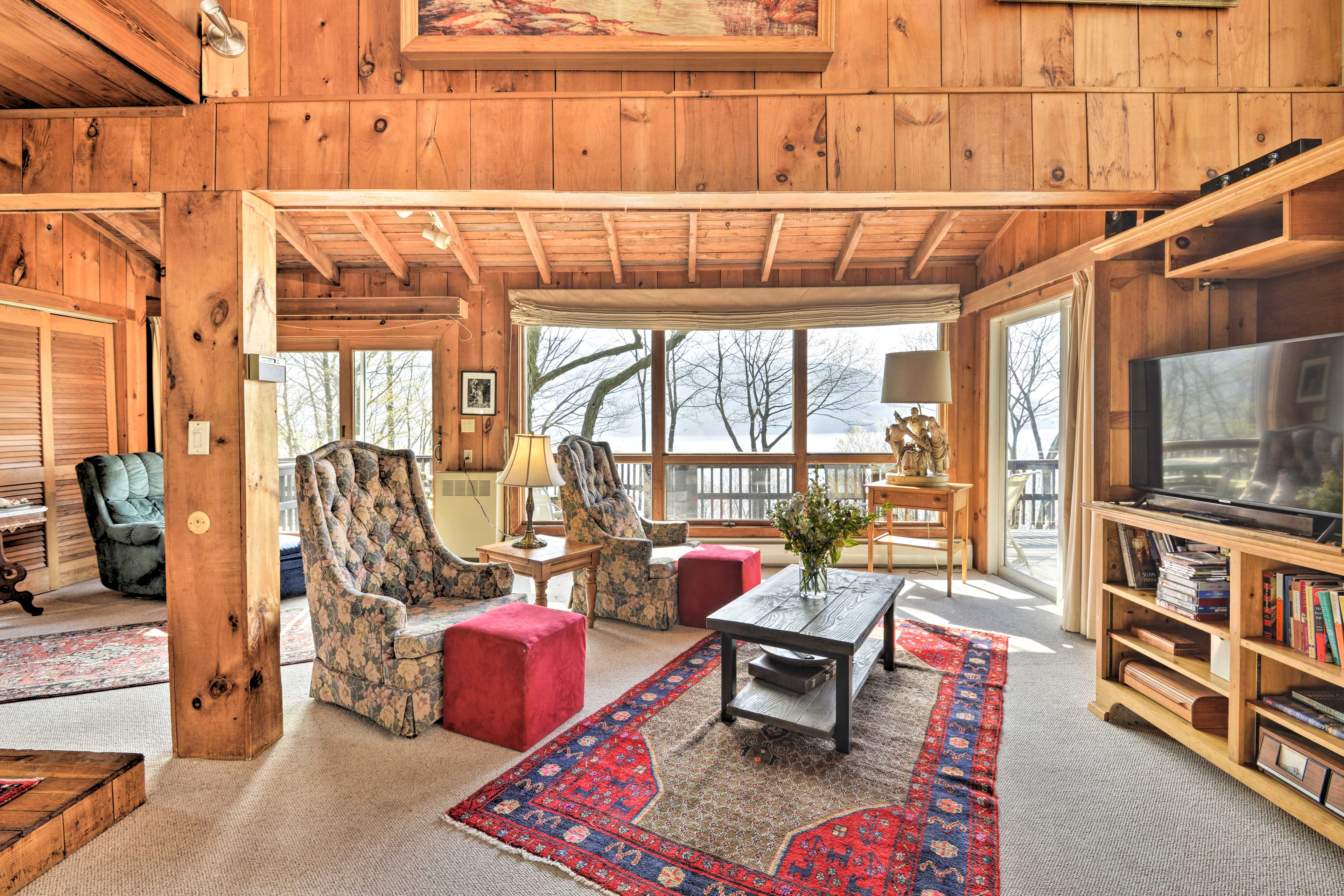 This 3-bed, 2-bath home is located on the shore of Skaneateles Lake.