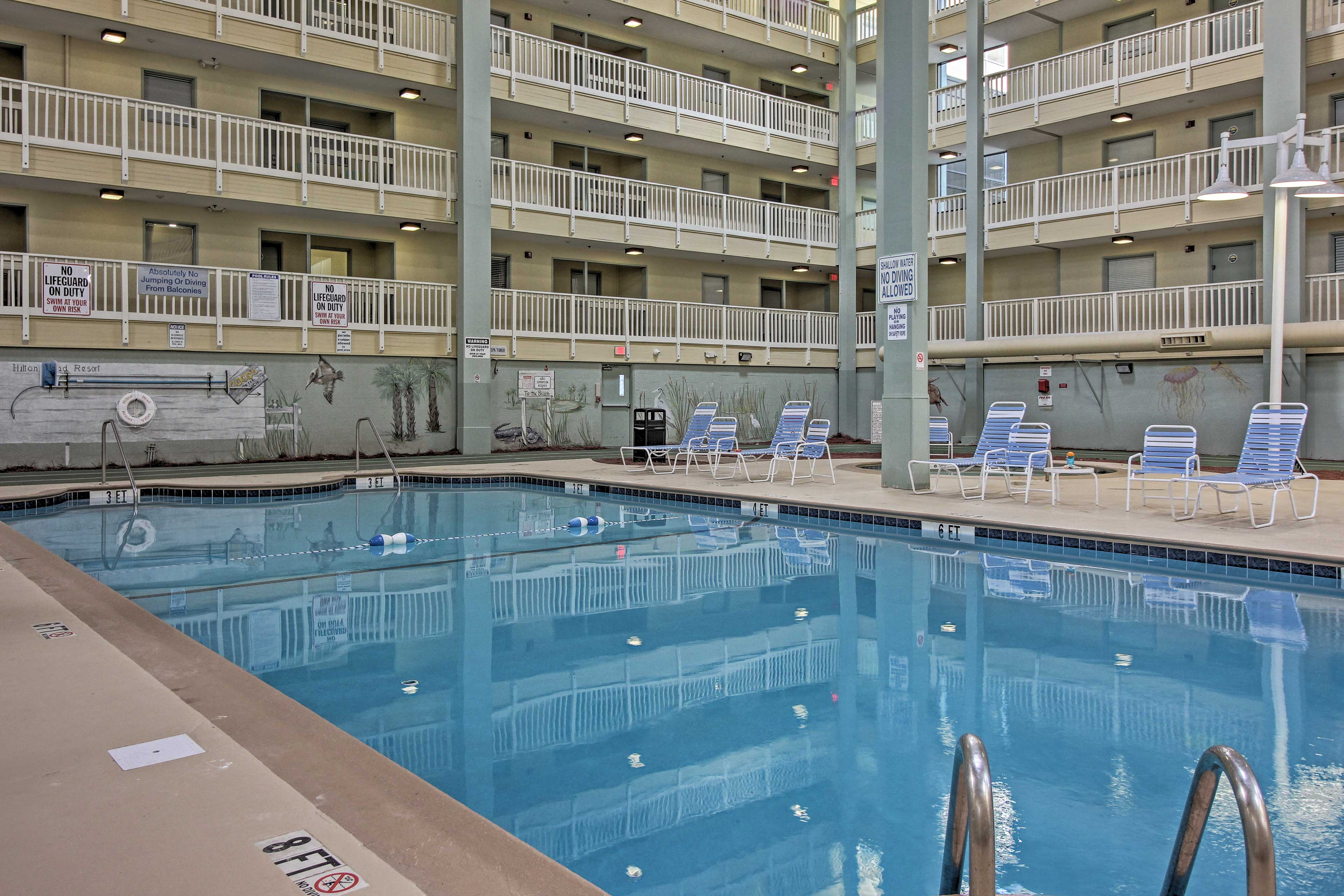 The indoor pool is perfect for rainy days.