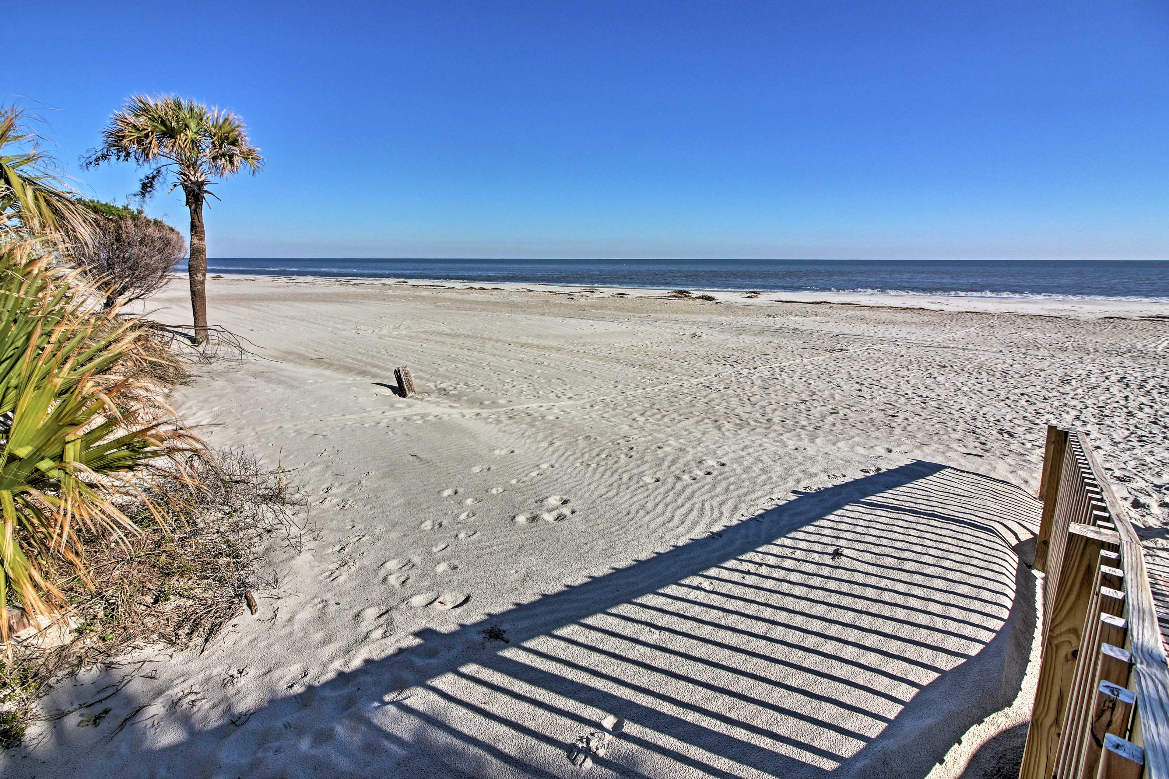 The beautiful beach is a short walk away!