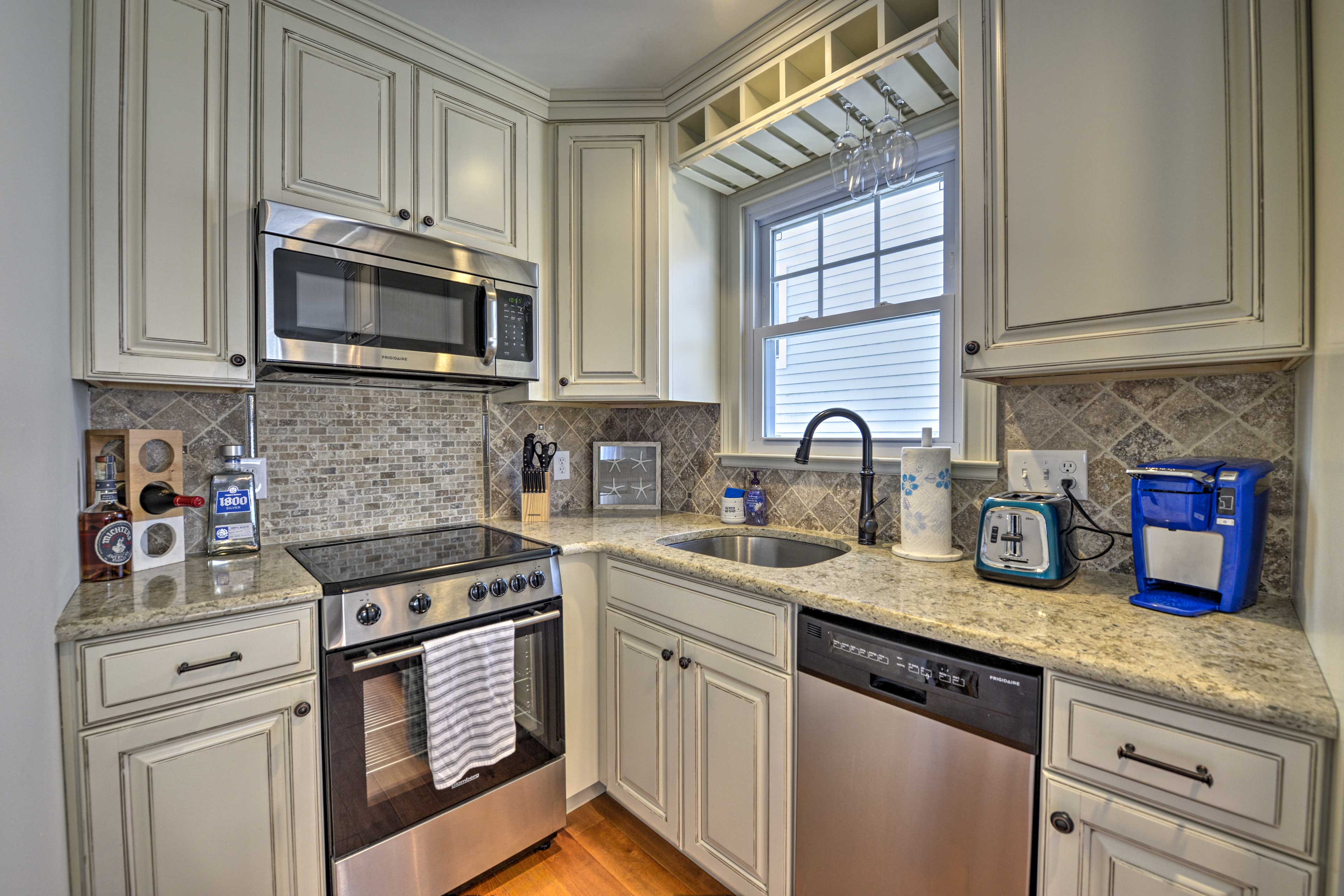 Whip up delicious meals with the stainless steel appliances.